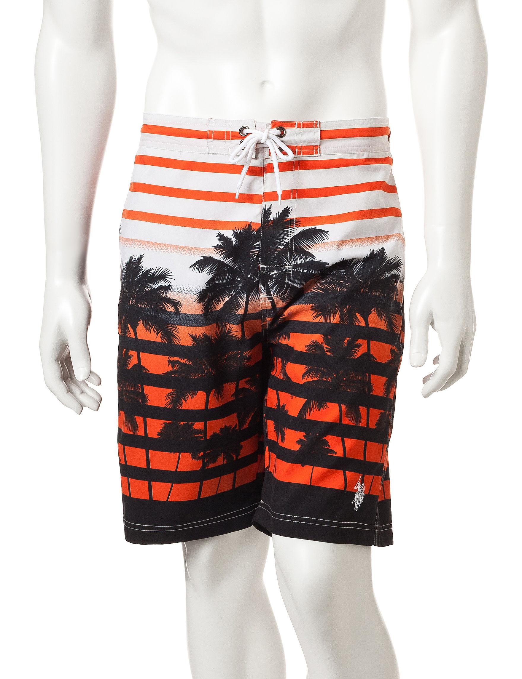 U.S. Polo Assn. Orange Multi Swimsuit Bottoms