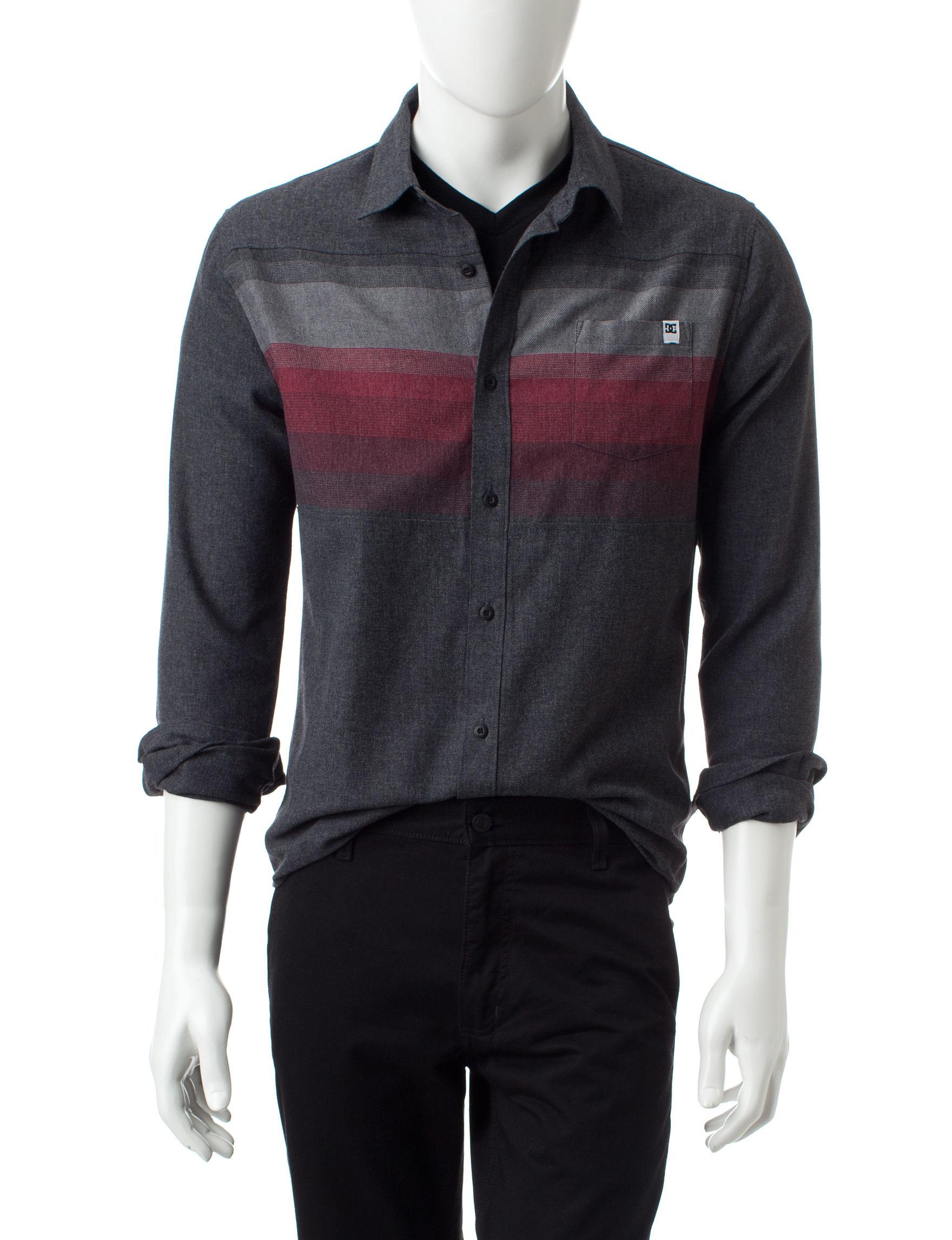 DC Shoes Black Casual Button Down Shirts