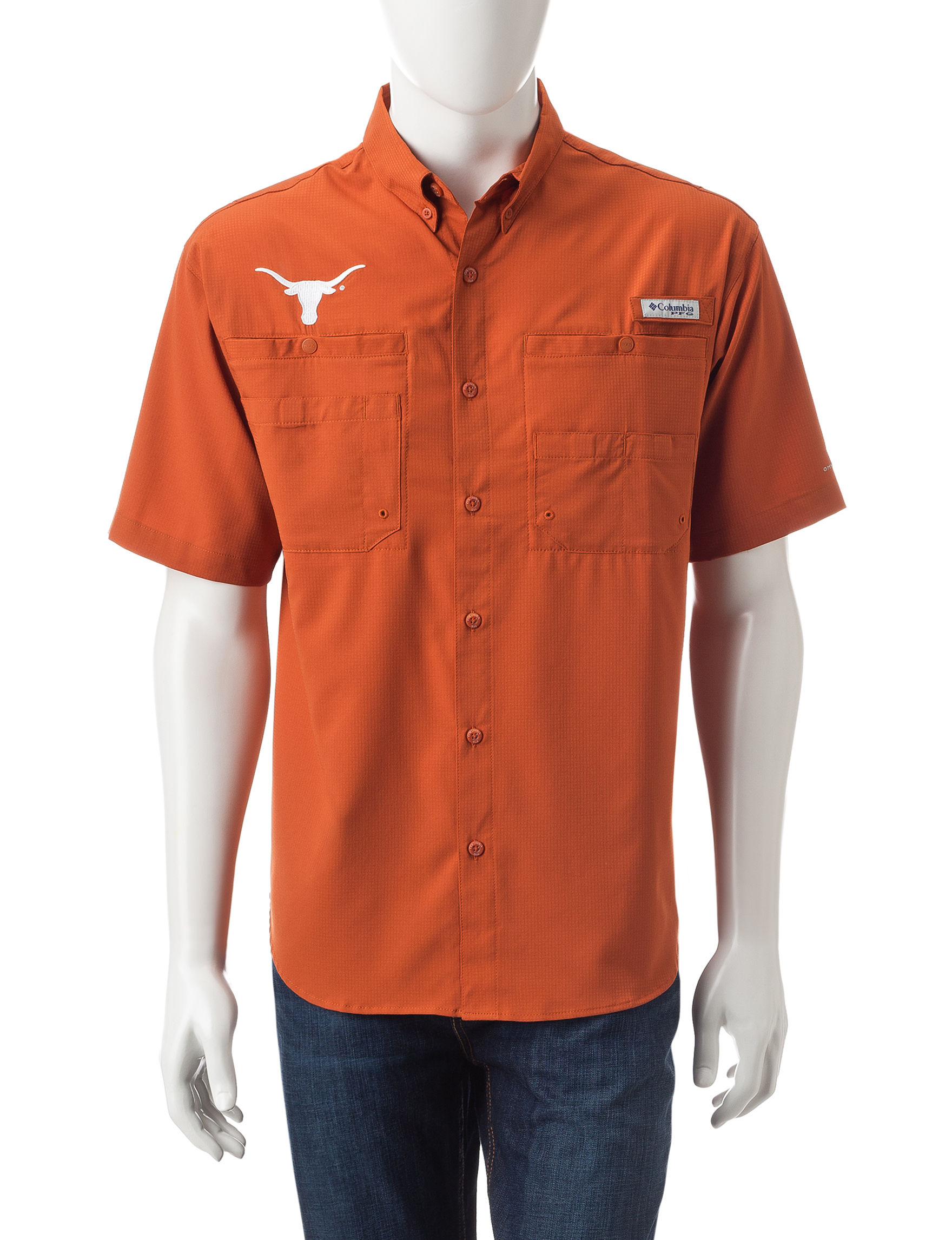 Columbia Texas Orange Casual Button Down Shirts
