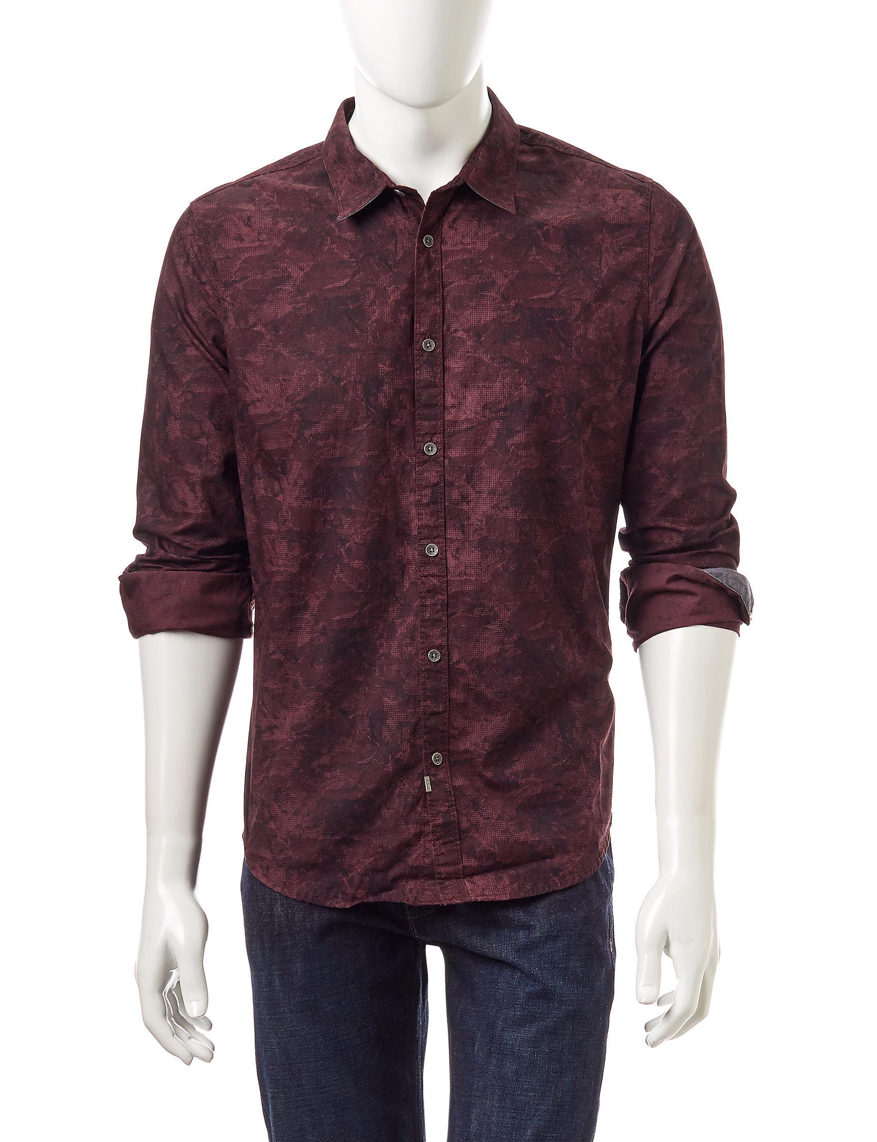 Calvin Klein Red Casual Button Down Shirts