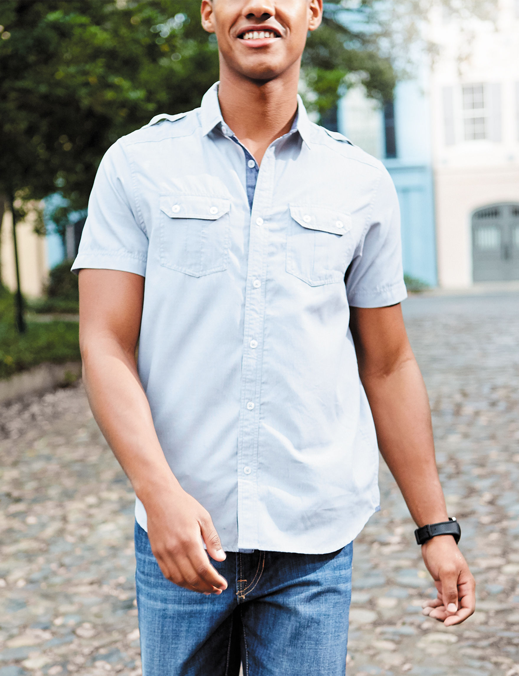 Signature Studio Grey Casual Button Down Shirts