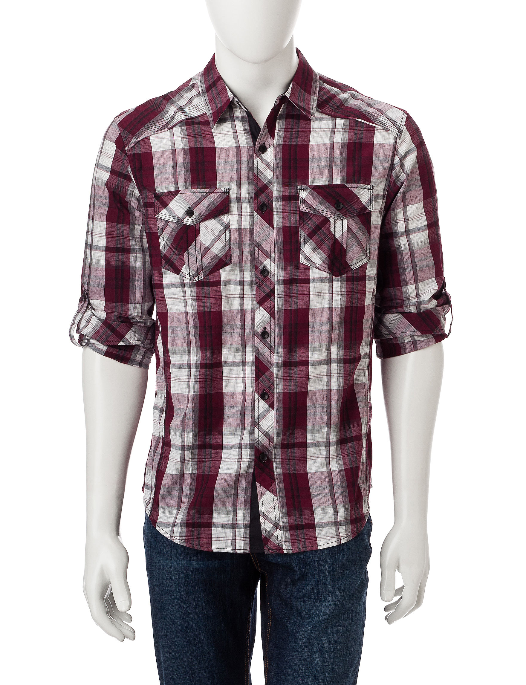 Rustic Blue Burgundy Casual Button Down Shirts