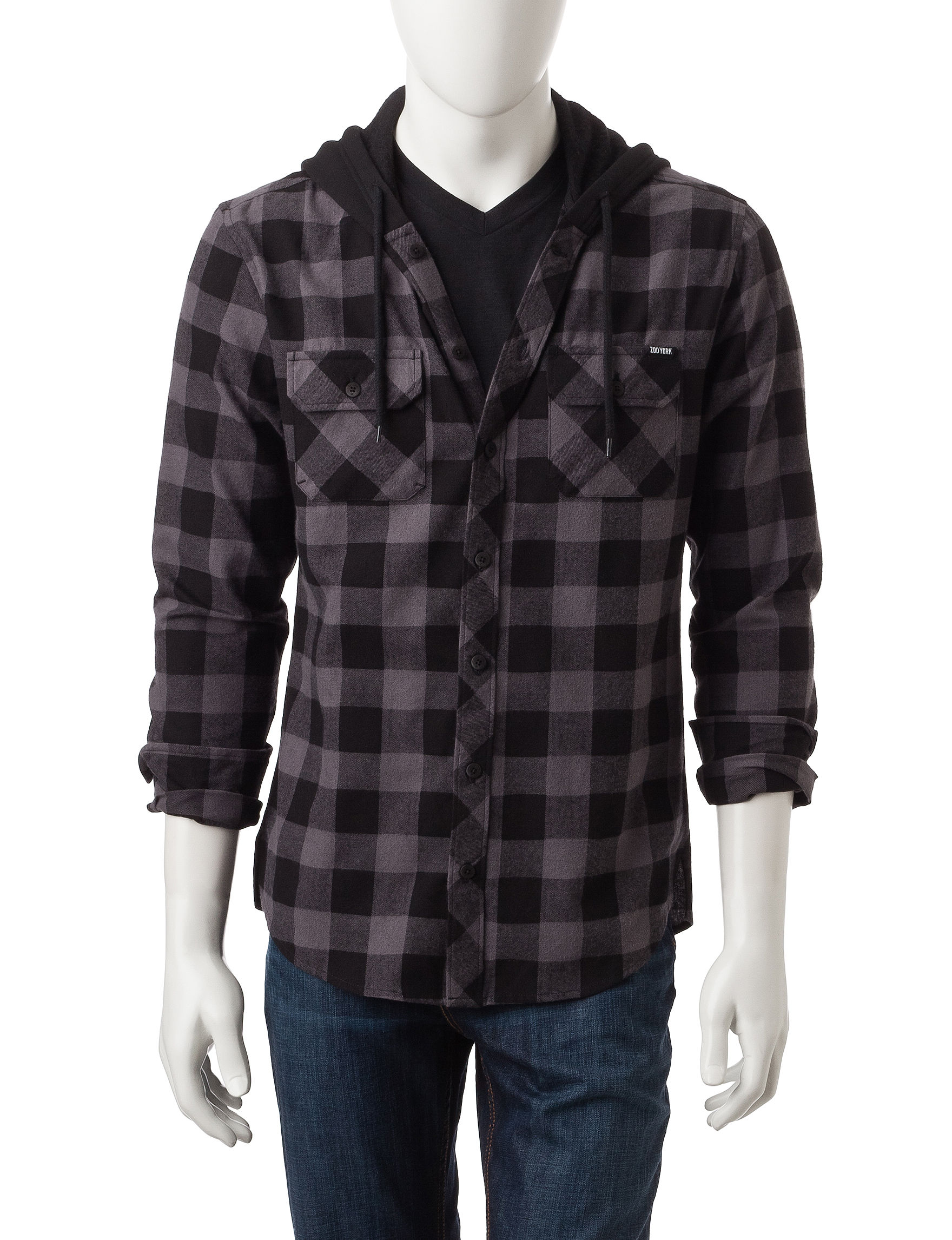 Zoo York Grey Casual Button Down Shirts