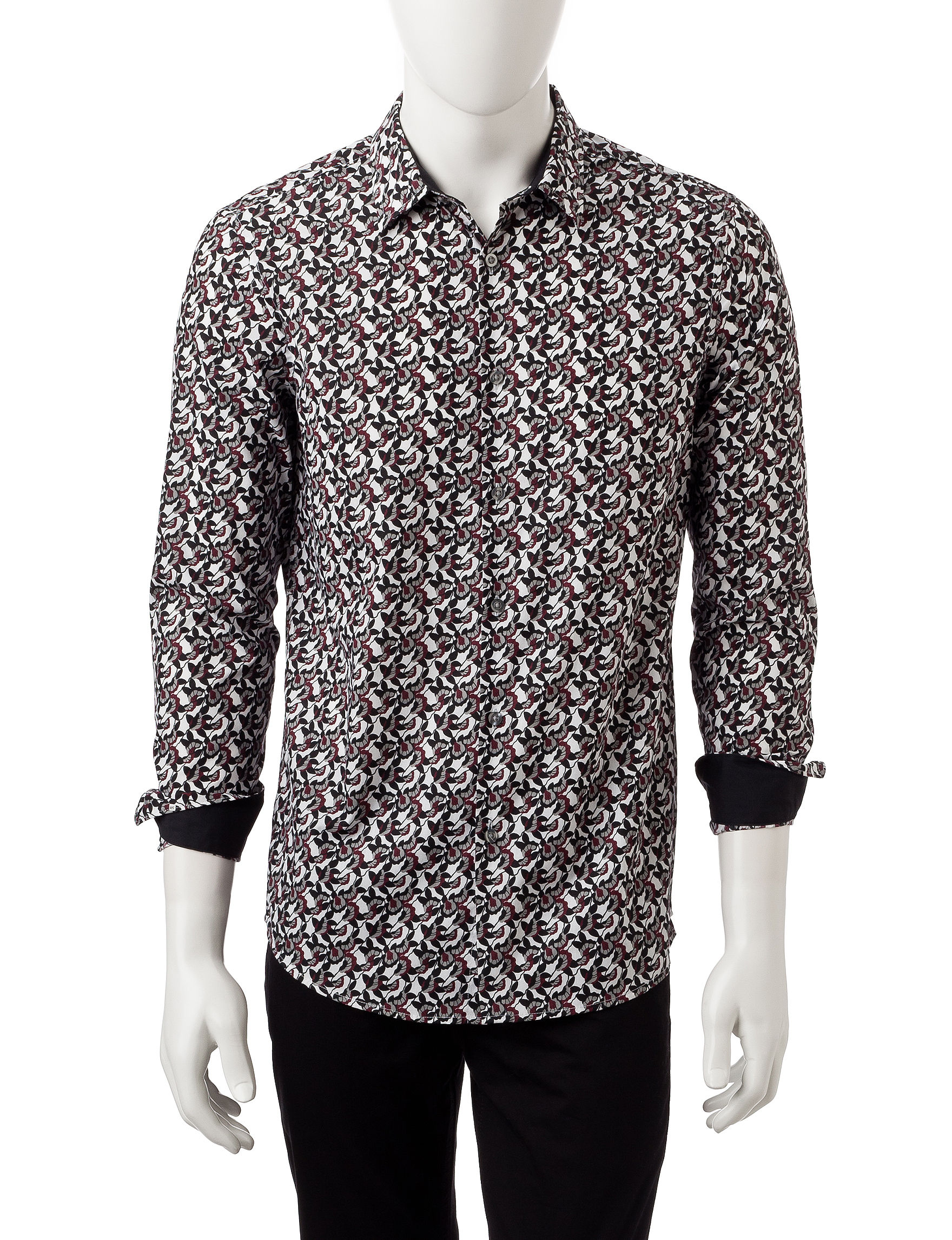 Axist Black / Red / White Casual Button Down Shirts