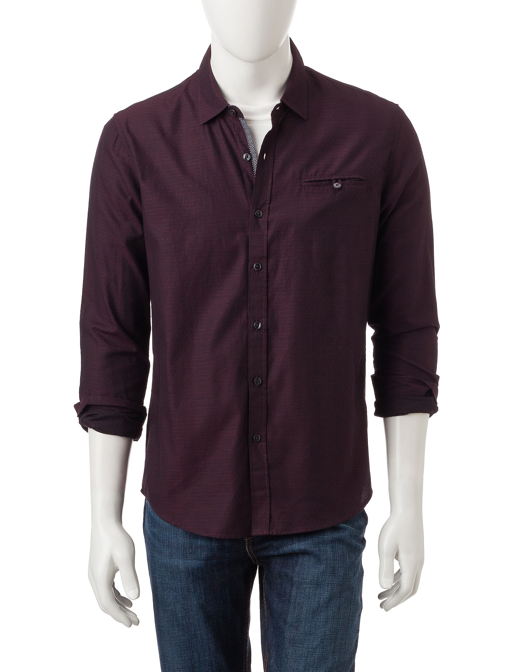 Signature Studio Red Casual Button Down Shirts