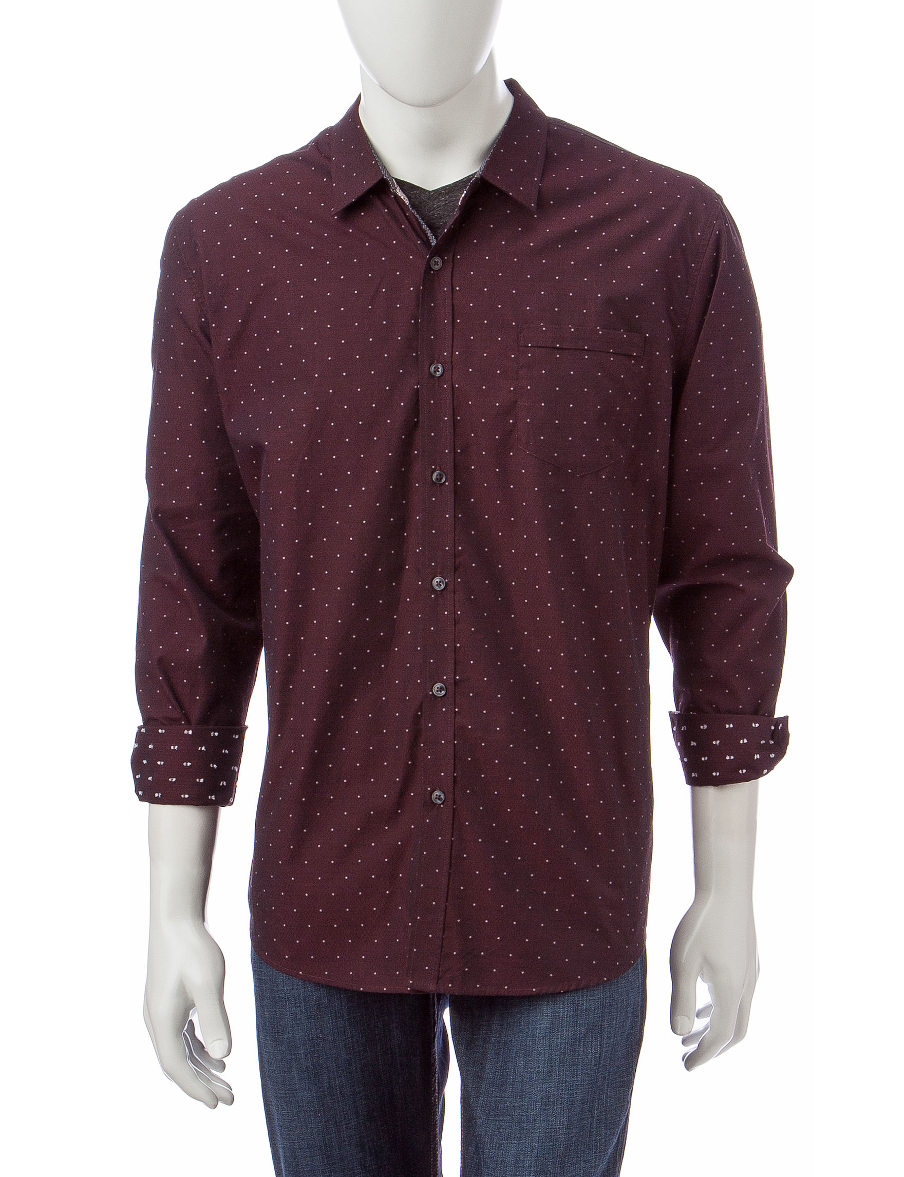 Signature Studio Wine Casual Button Down Shirts