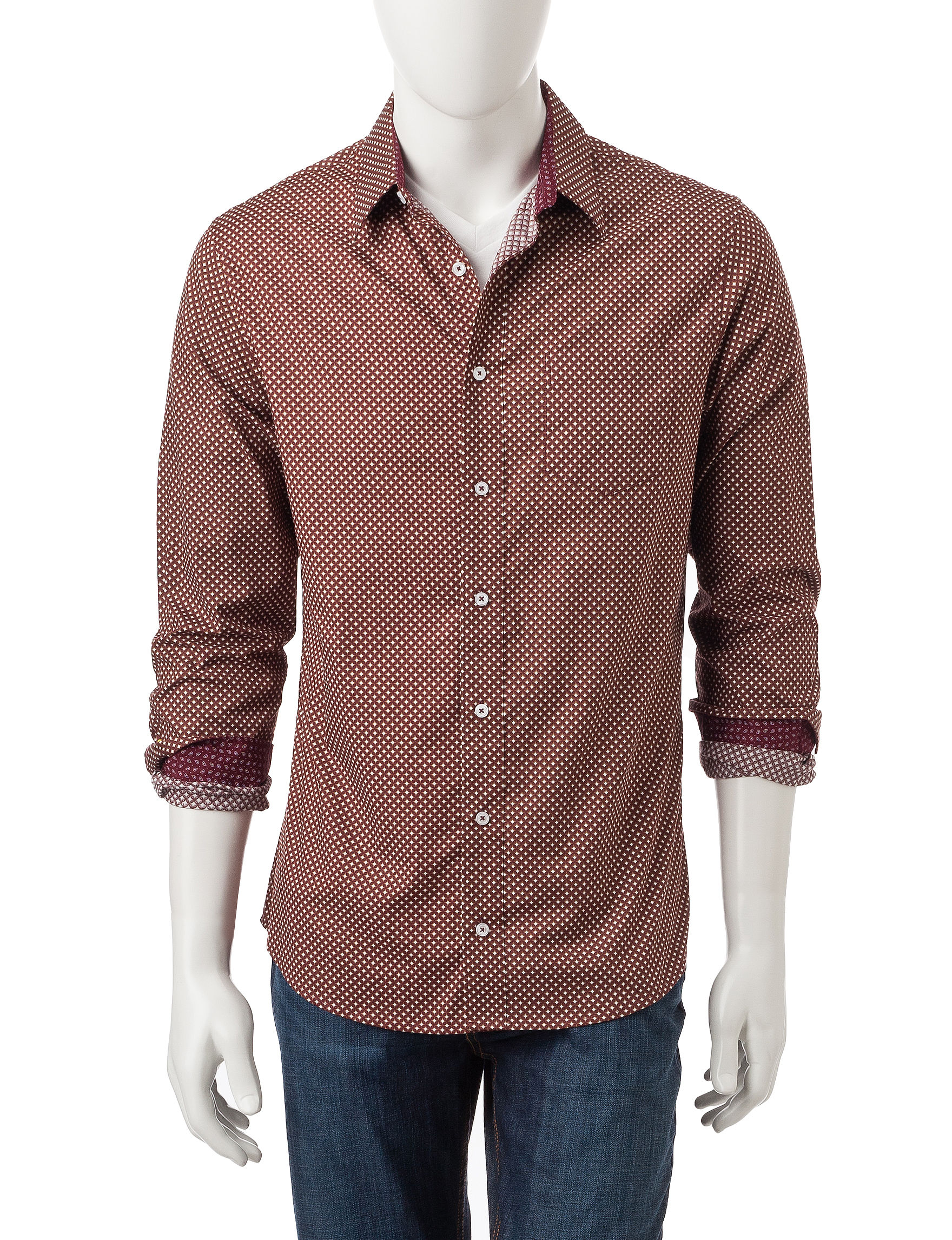 Signature Studio Burgundy Casual Button Down Shirts