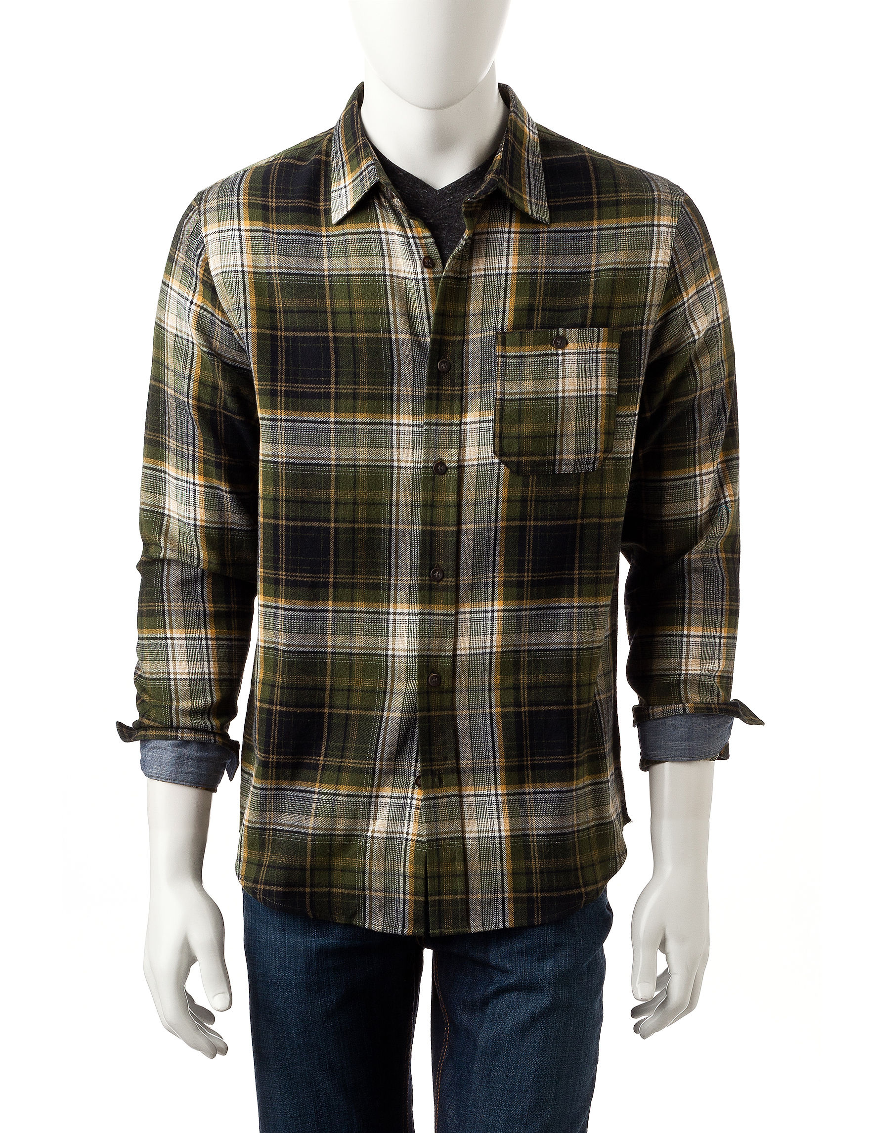 Rustic Blue Green Casual Button Down Shirts