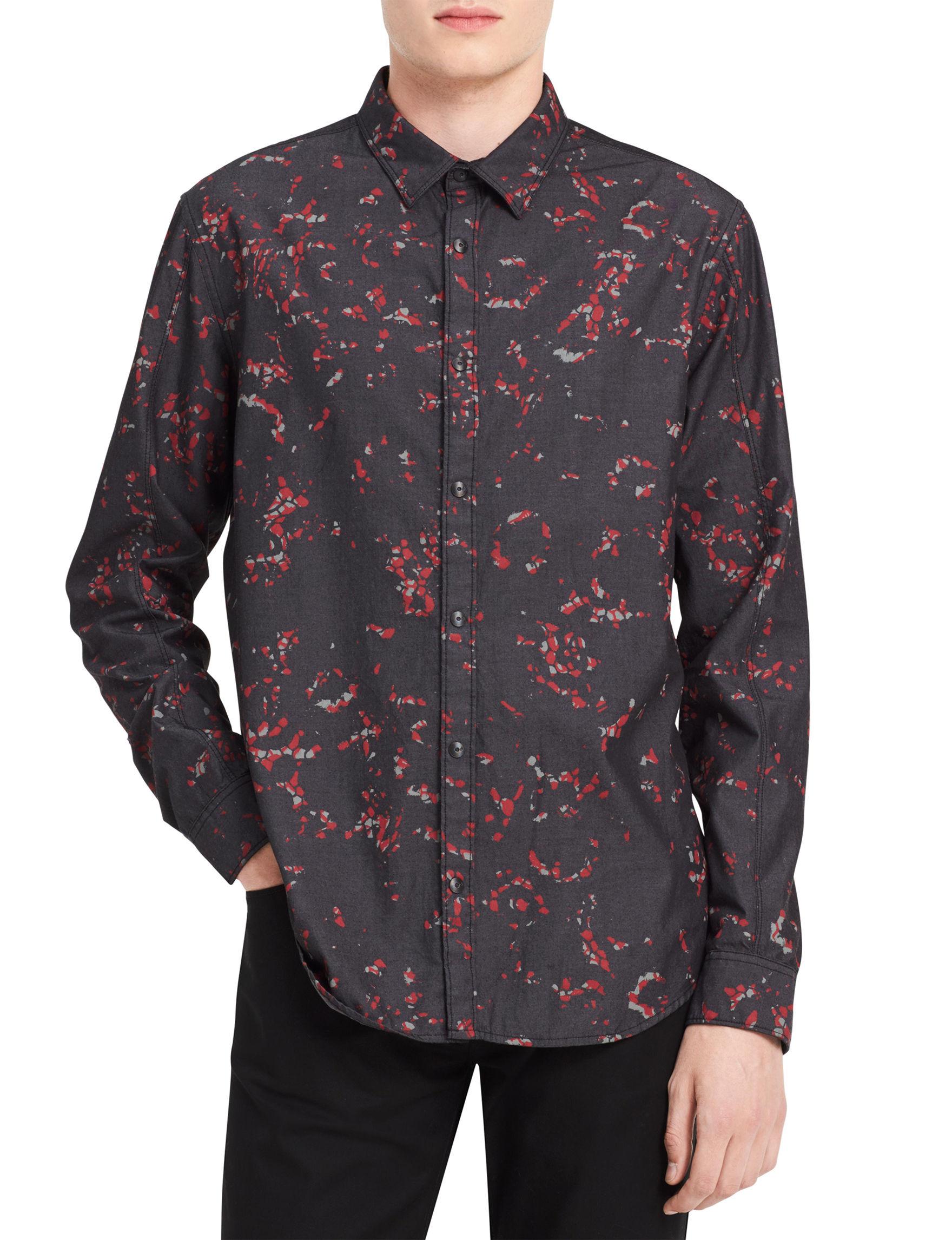 Calvin Klein Grey Casual Button Down Shirts