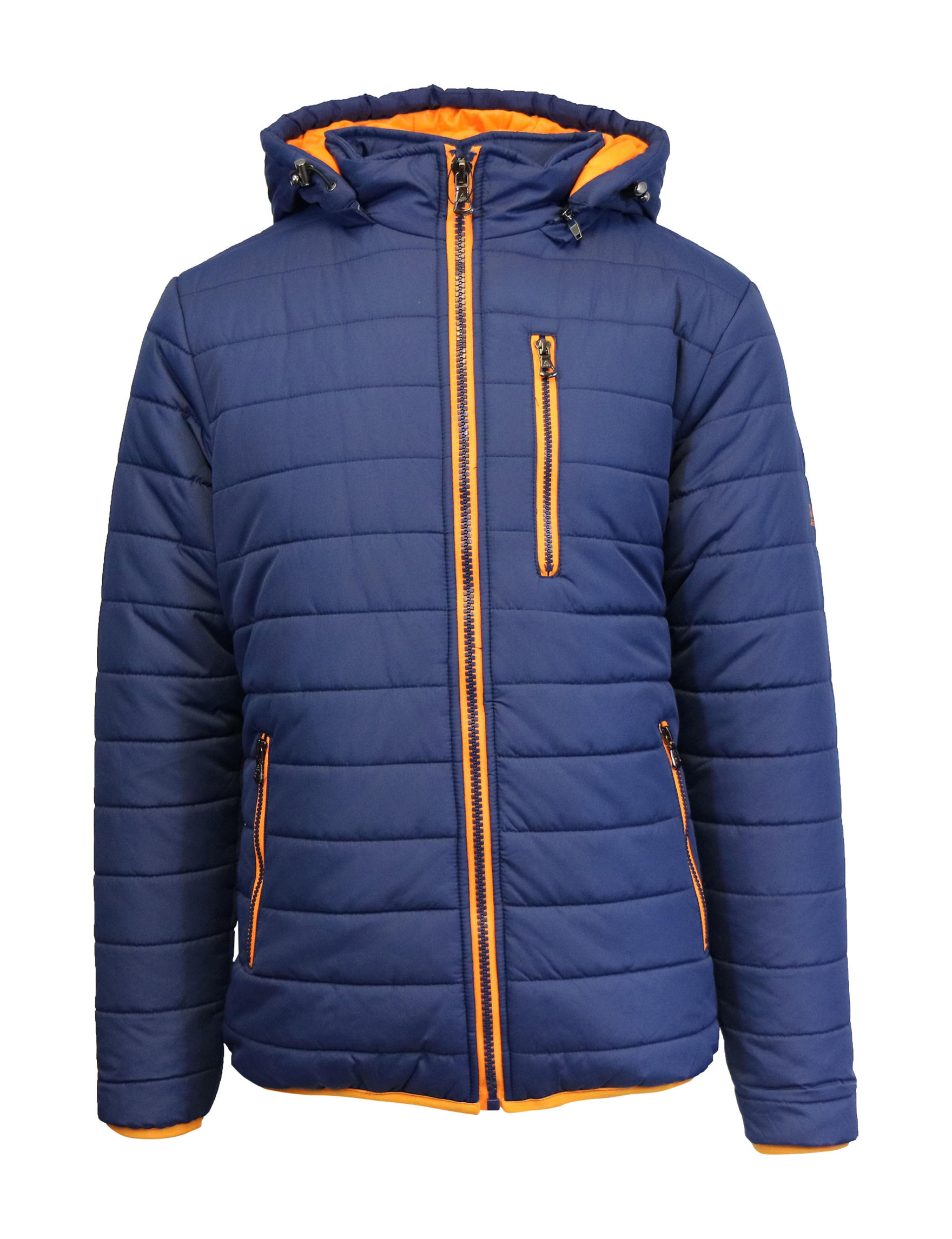 Galaxy by Harvic Orange/ Navy Puffer & Quilted Jackets