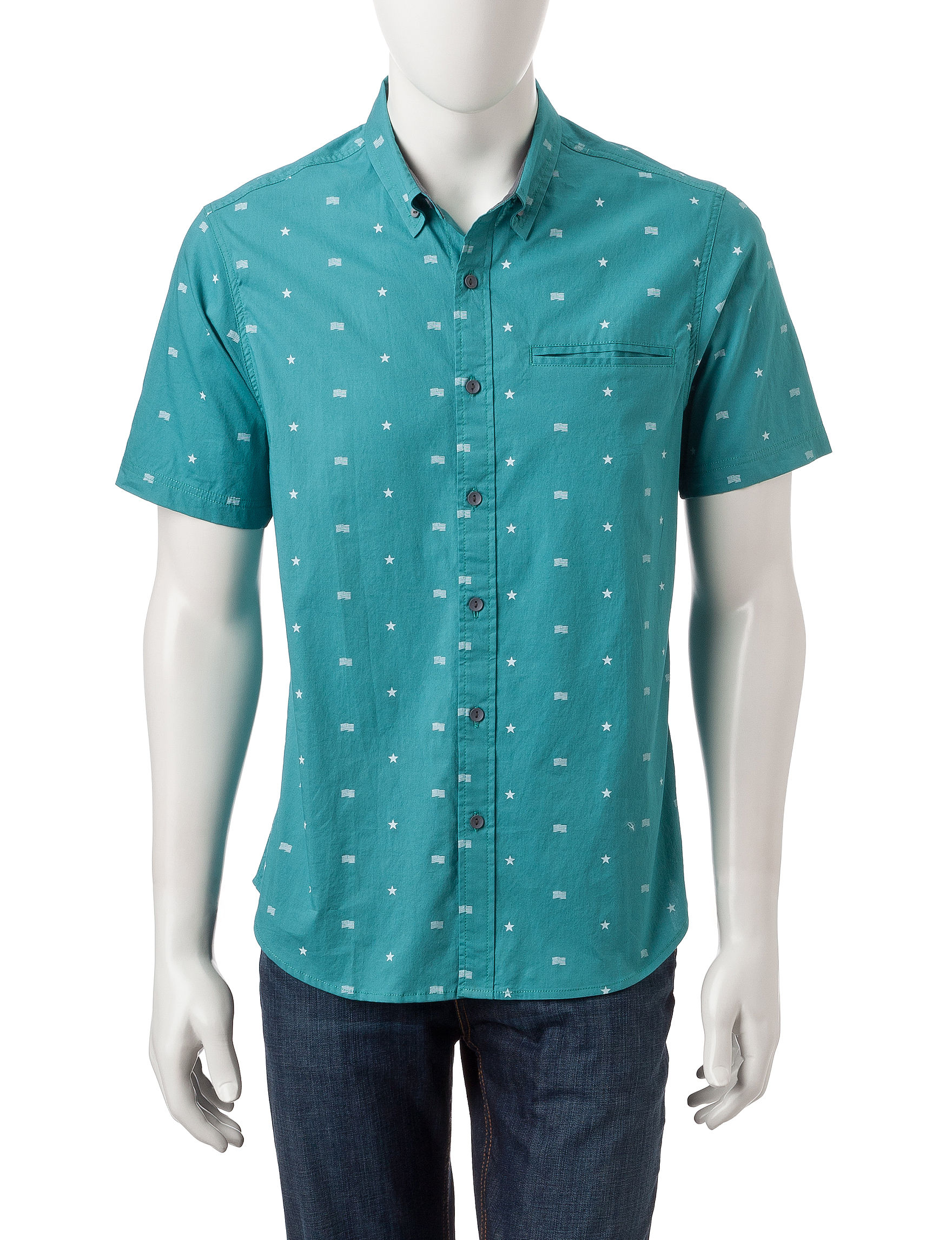 Rustic Blue Turquoise Casual Button Down Shirts