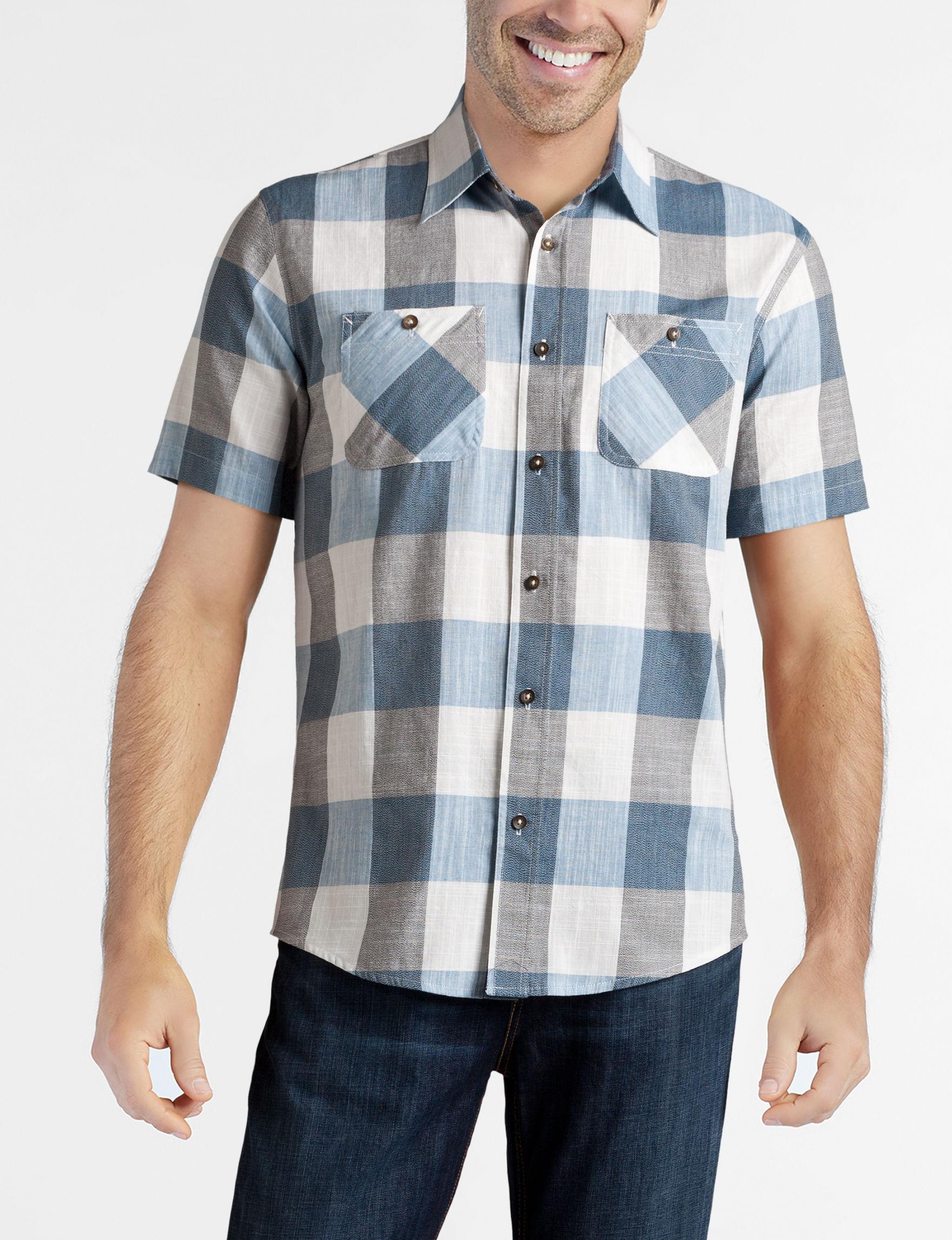 Rustic Blue Blue Casual Button Down Shirts