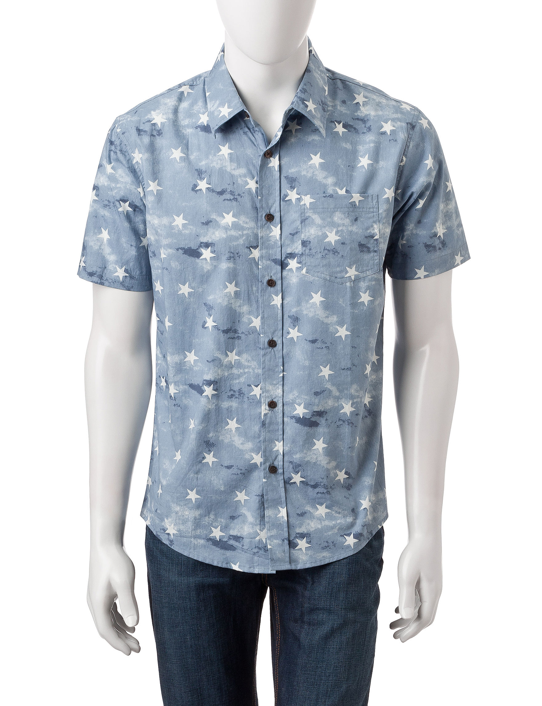Rustic Blue Light Blue Casual Button Down Shirts