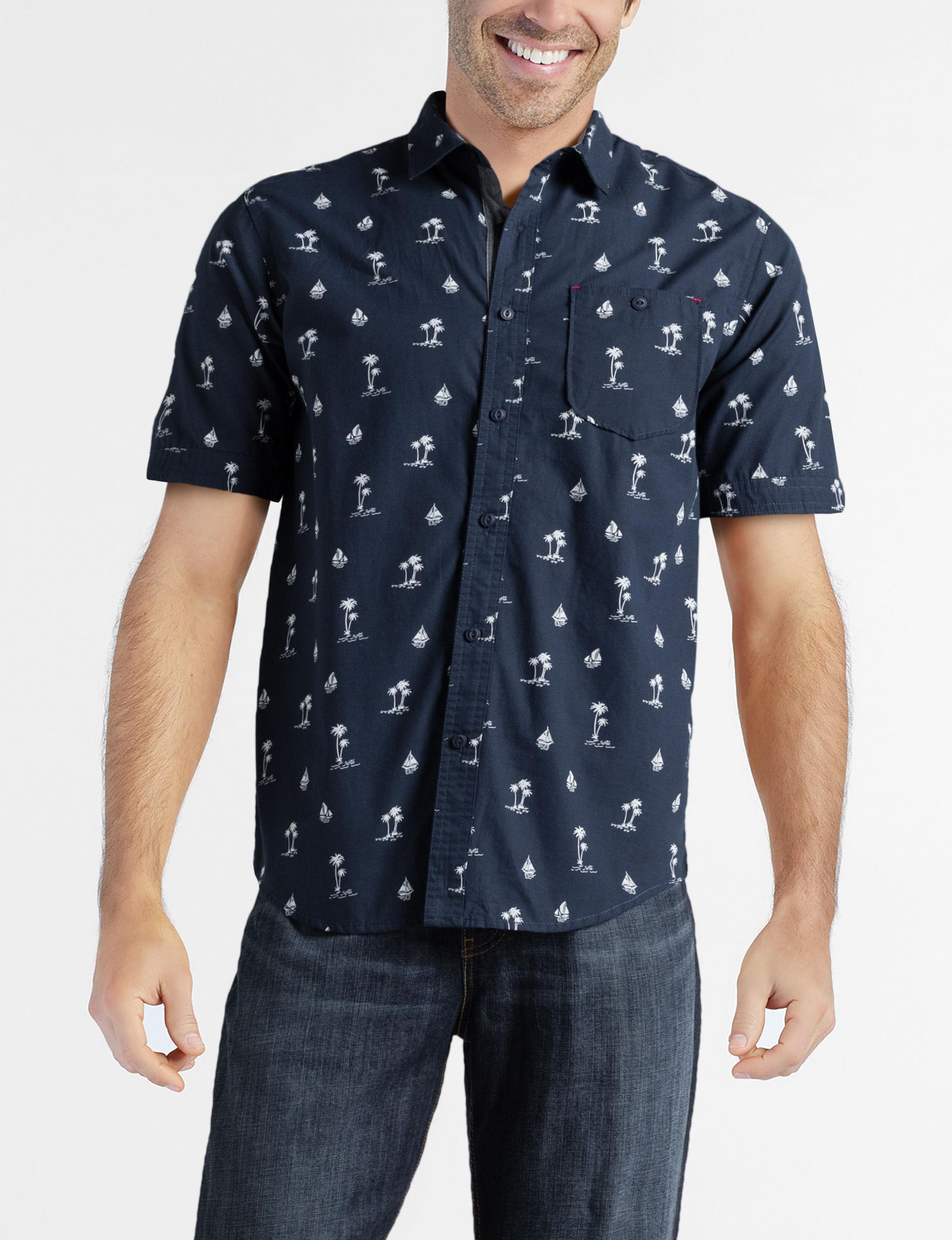 Rustic Blue Dark Blue Casual Button Down Shirts