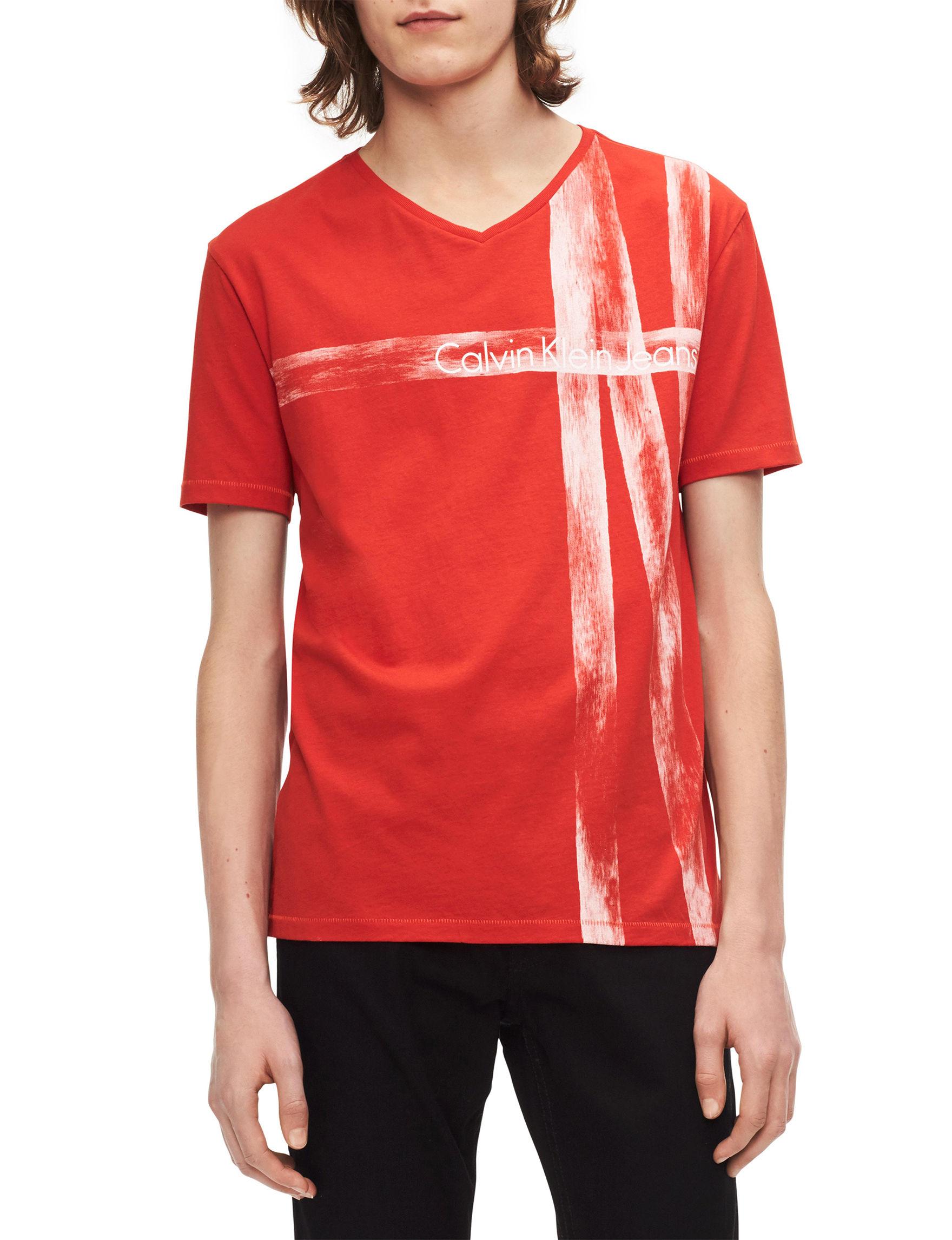 Calvin Klein Red Orange Tees & Tanks