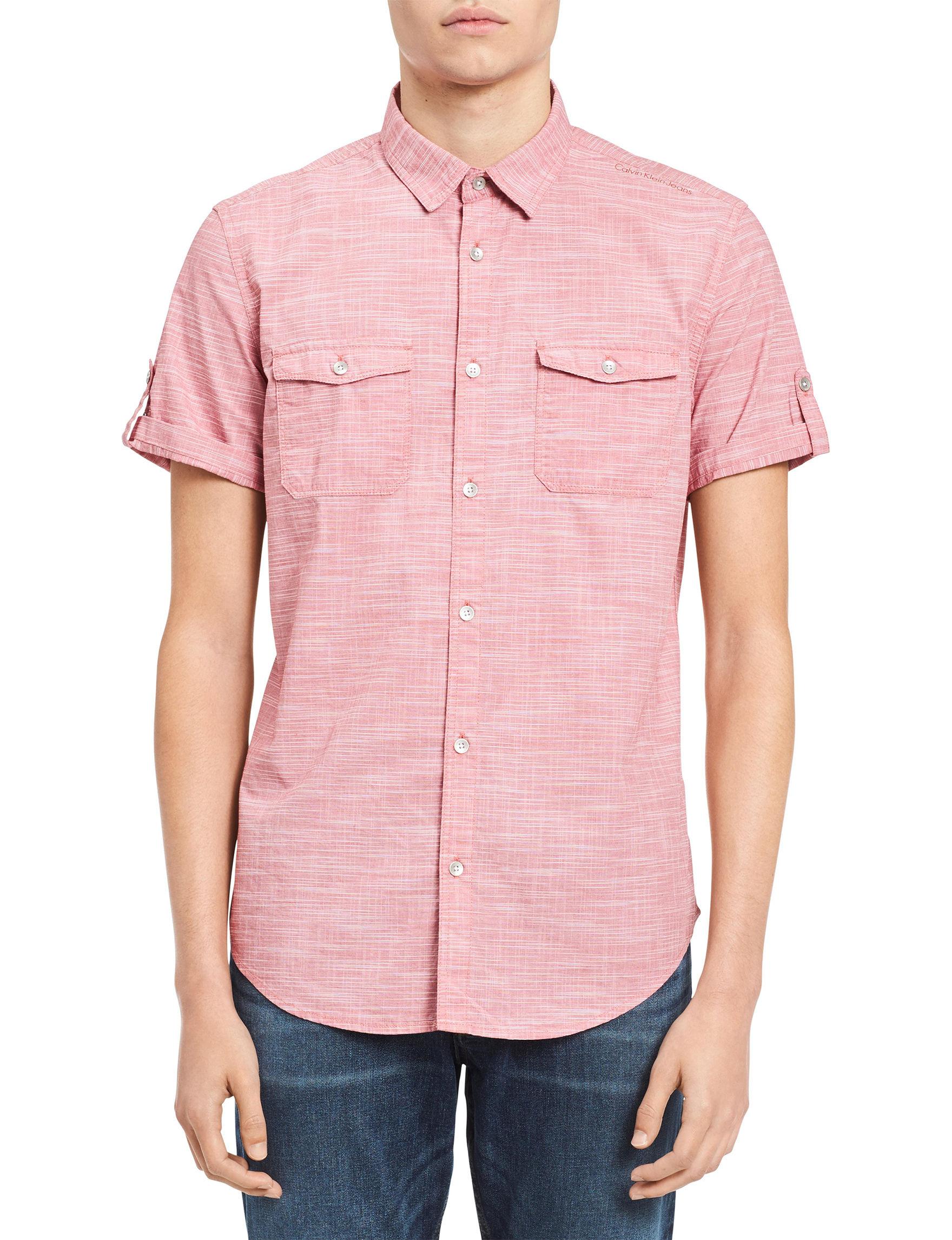 Calvin Klein Red Casual Button Down Shirts Dress Shirts