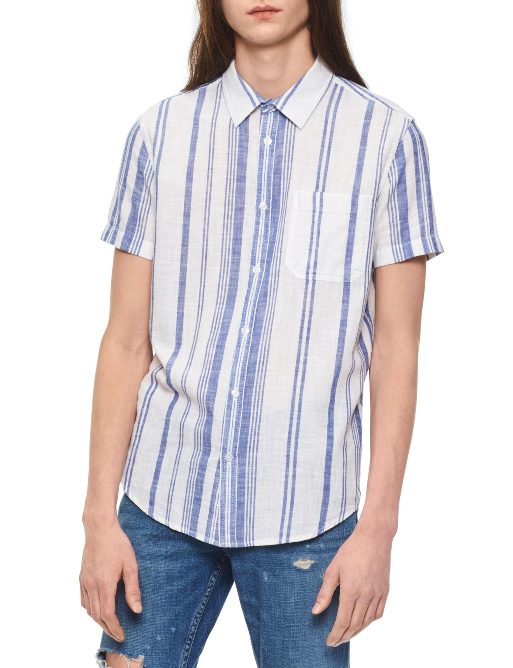 Calvin Klein White Stripe Casual Button Down Shirts