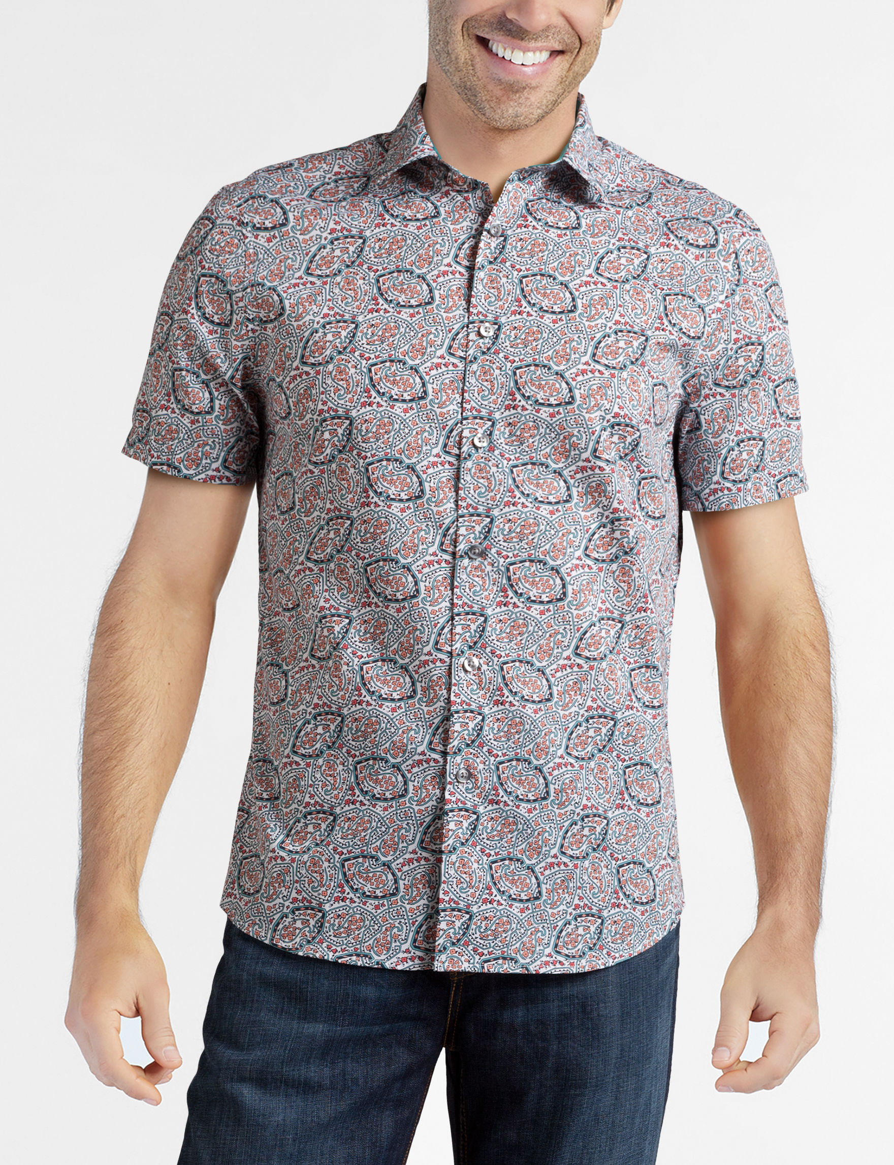 Axist Pink Paisley Casual Button Down Shirts