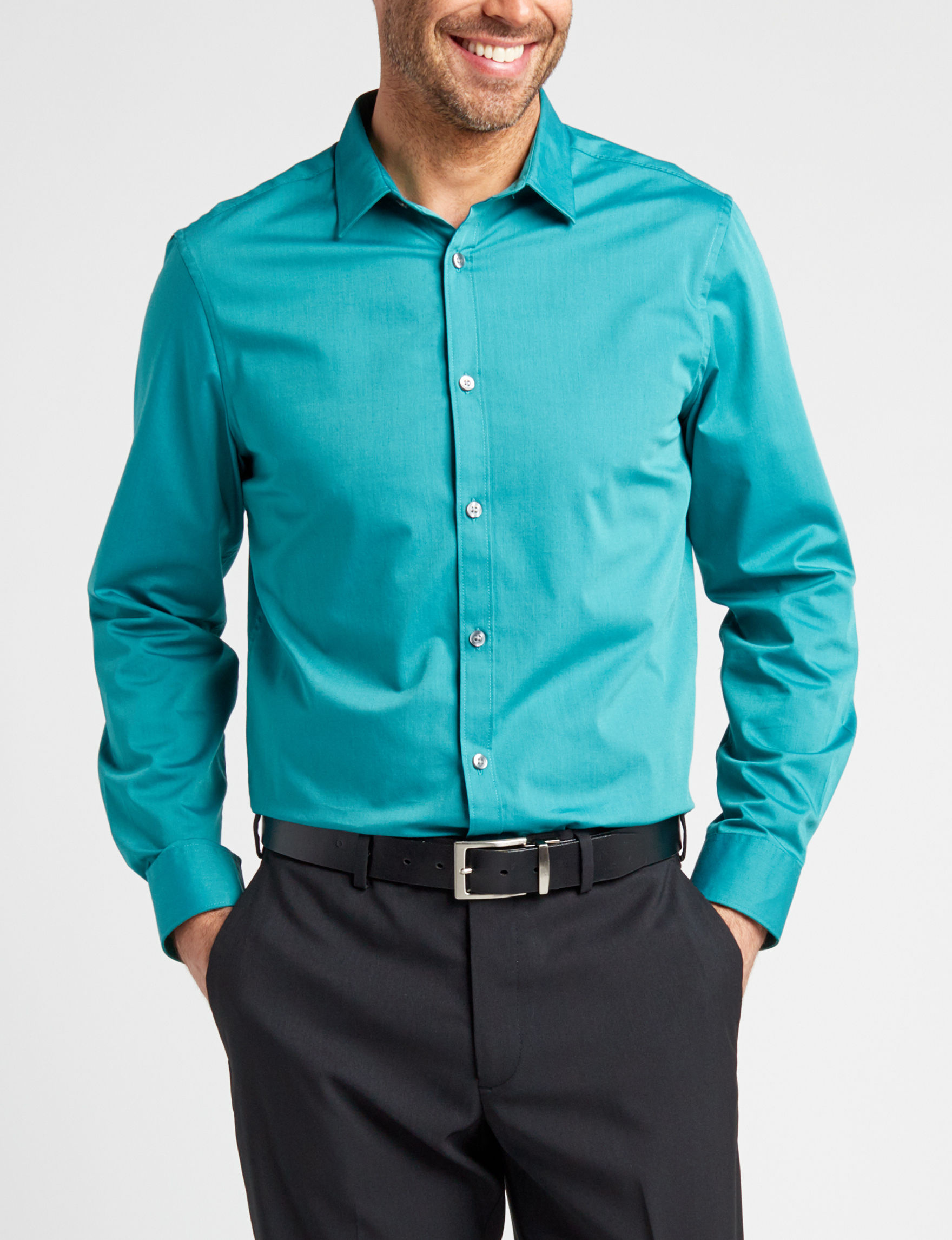 Axist Turquoise Casual Button Down Shirts