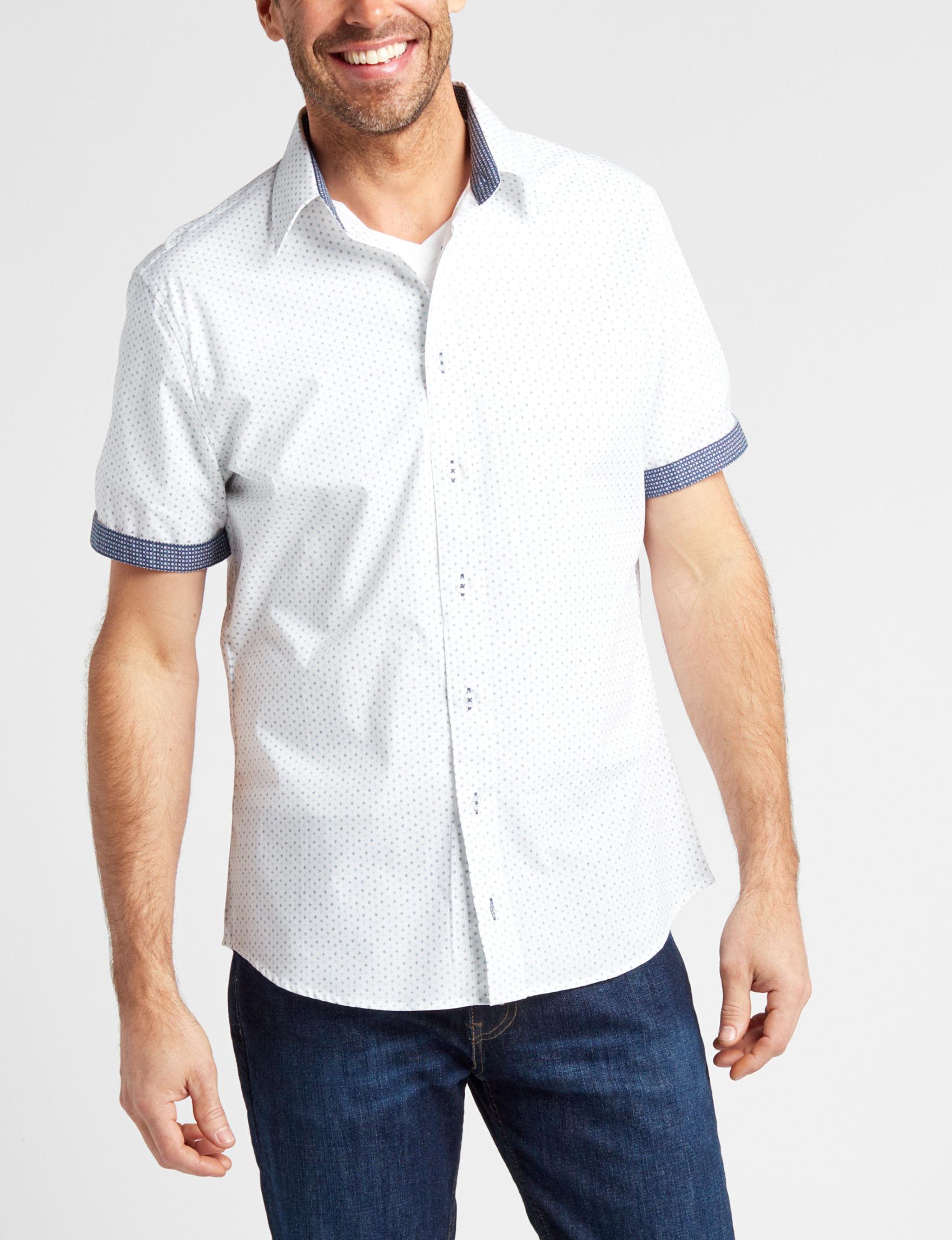 Signature Studio White / Blue Casual Button Down Shirts
