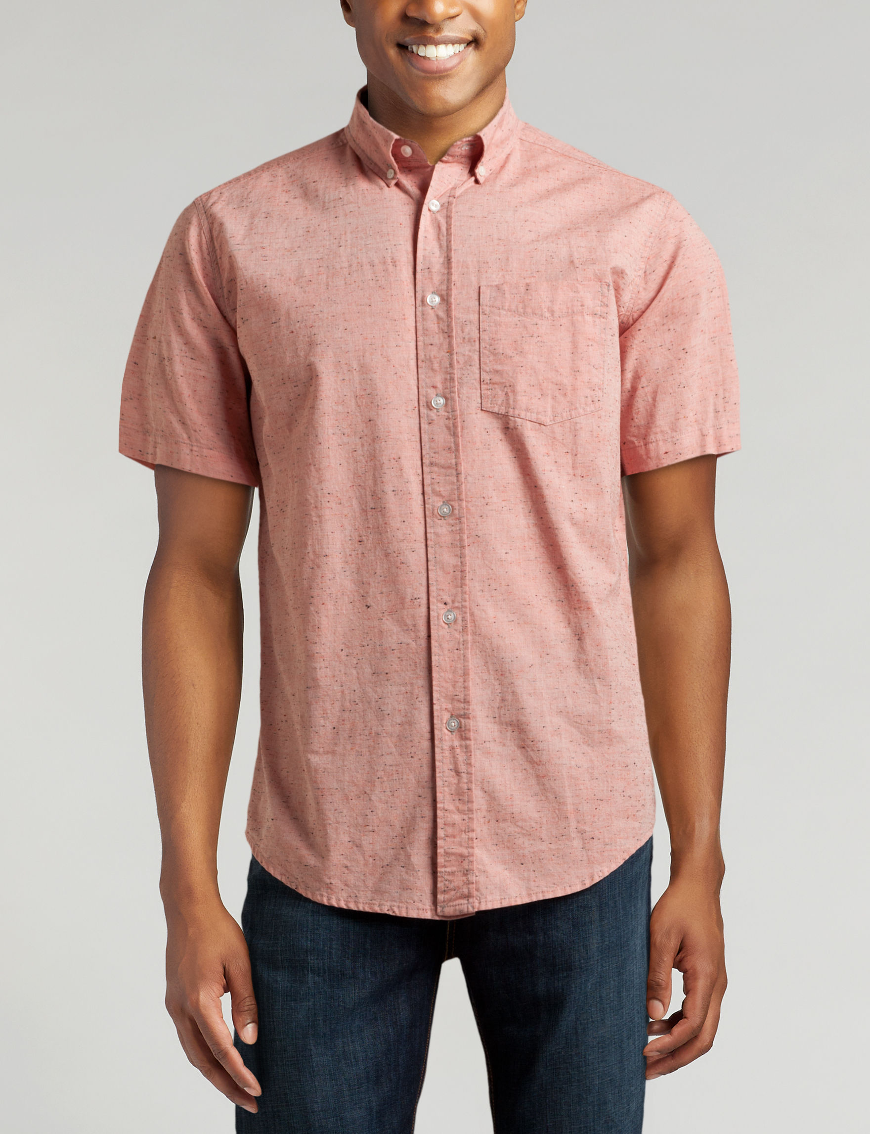 Ocean Current Heather Coral Casual Button Down Shirts