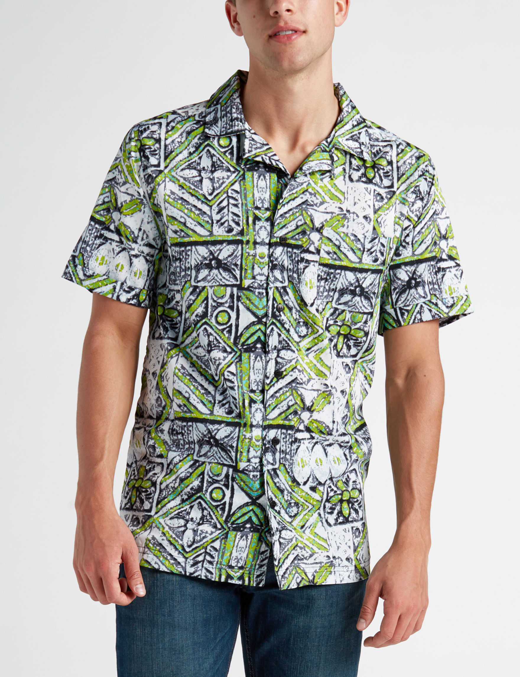 One Resolution Green Multi Casual Button Down Shirts