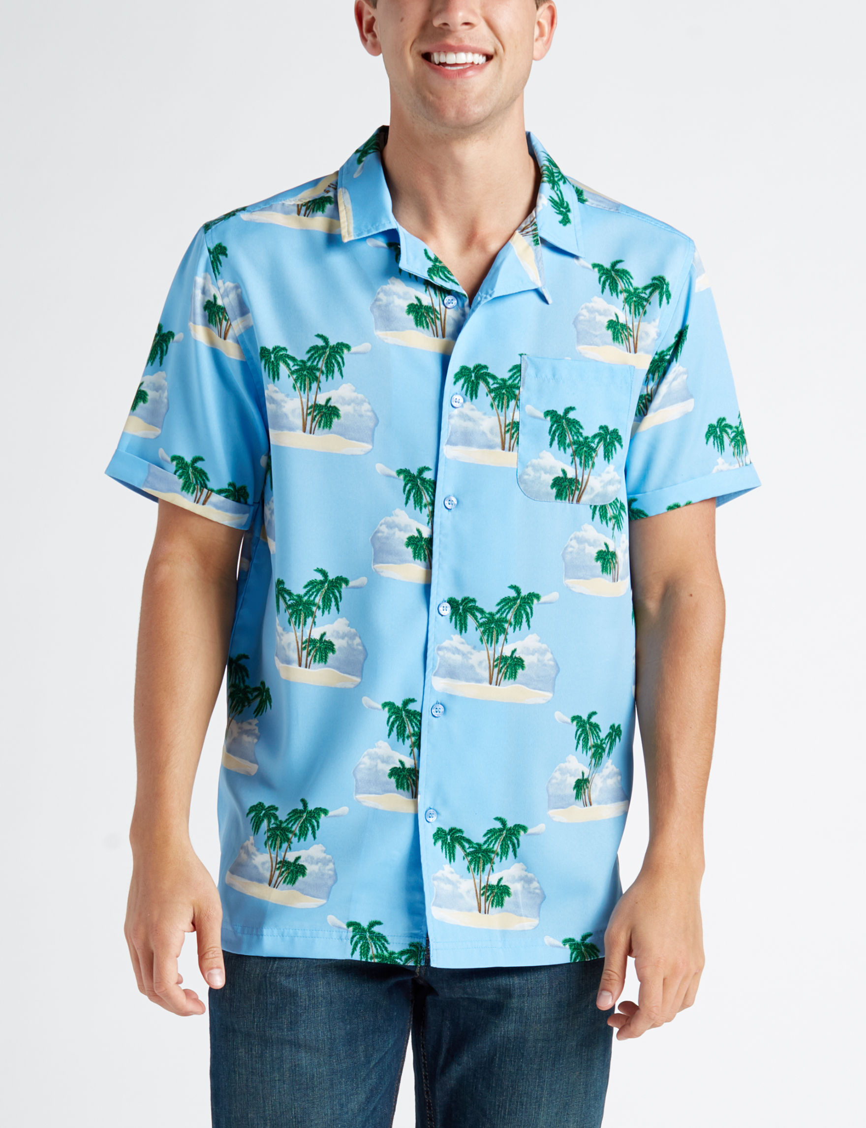 One Resolution Blue Casual Button Down Shirts