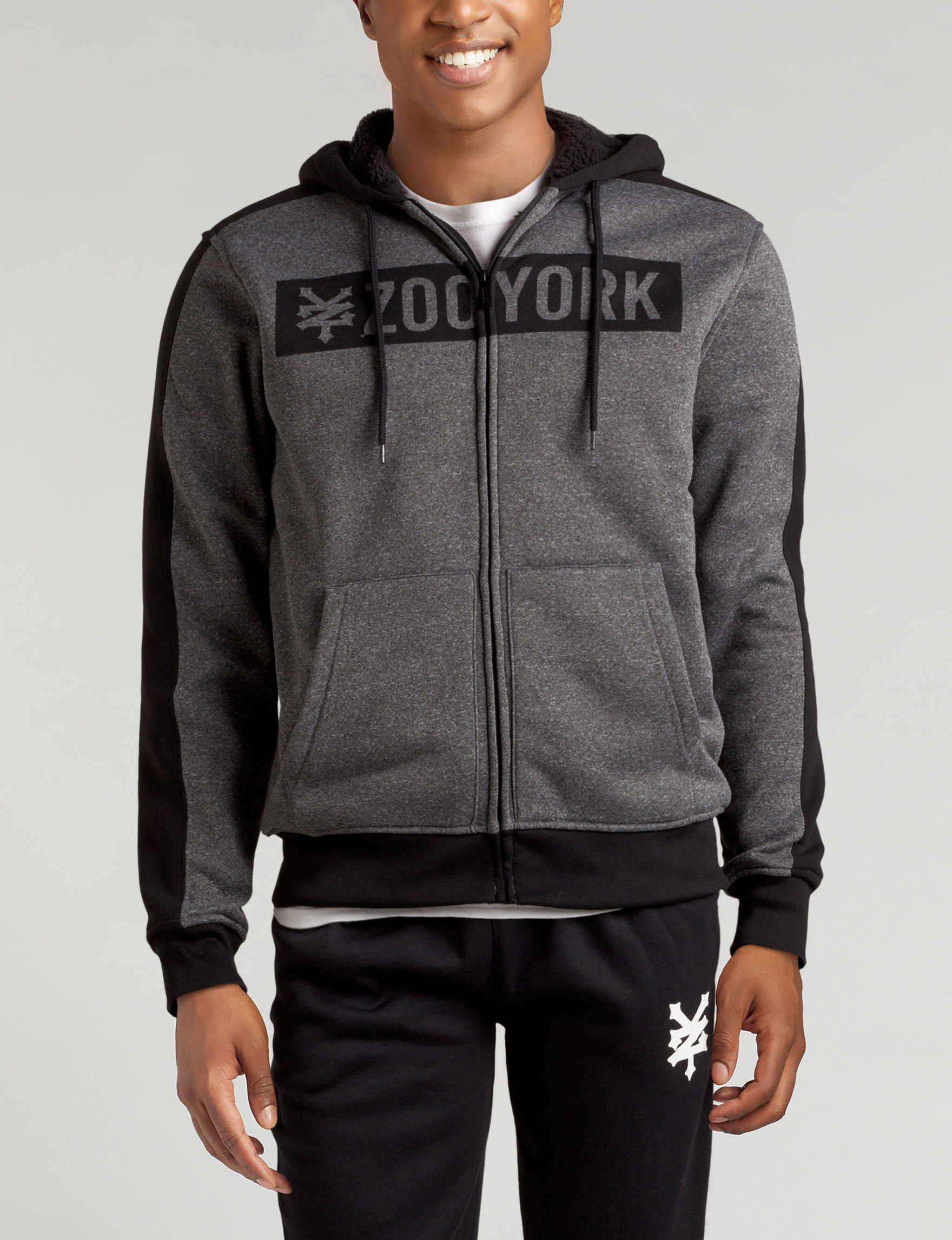 Zoo York Heather Grey Zip-Ups