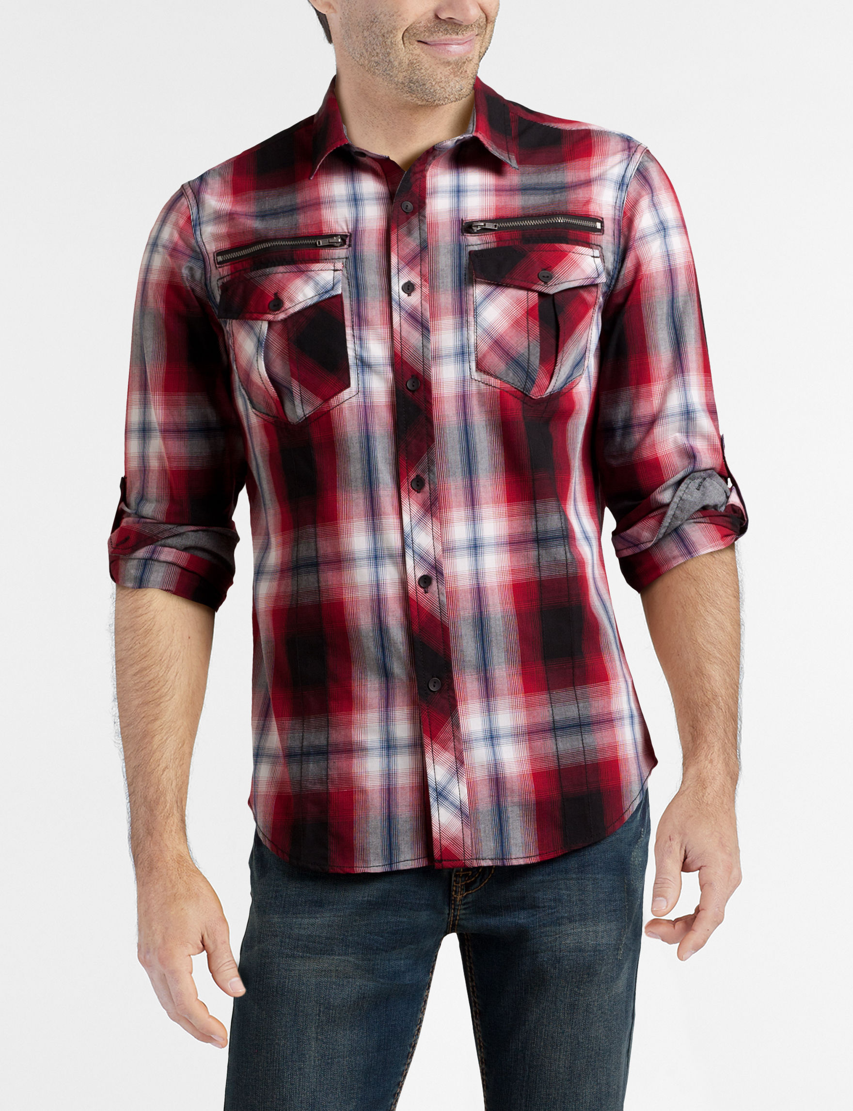 Rustic Blue Red Plaid Casual Button Down Shirts