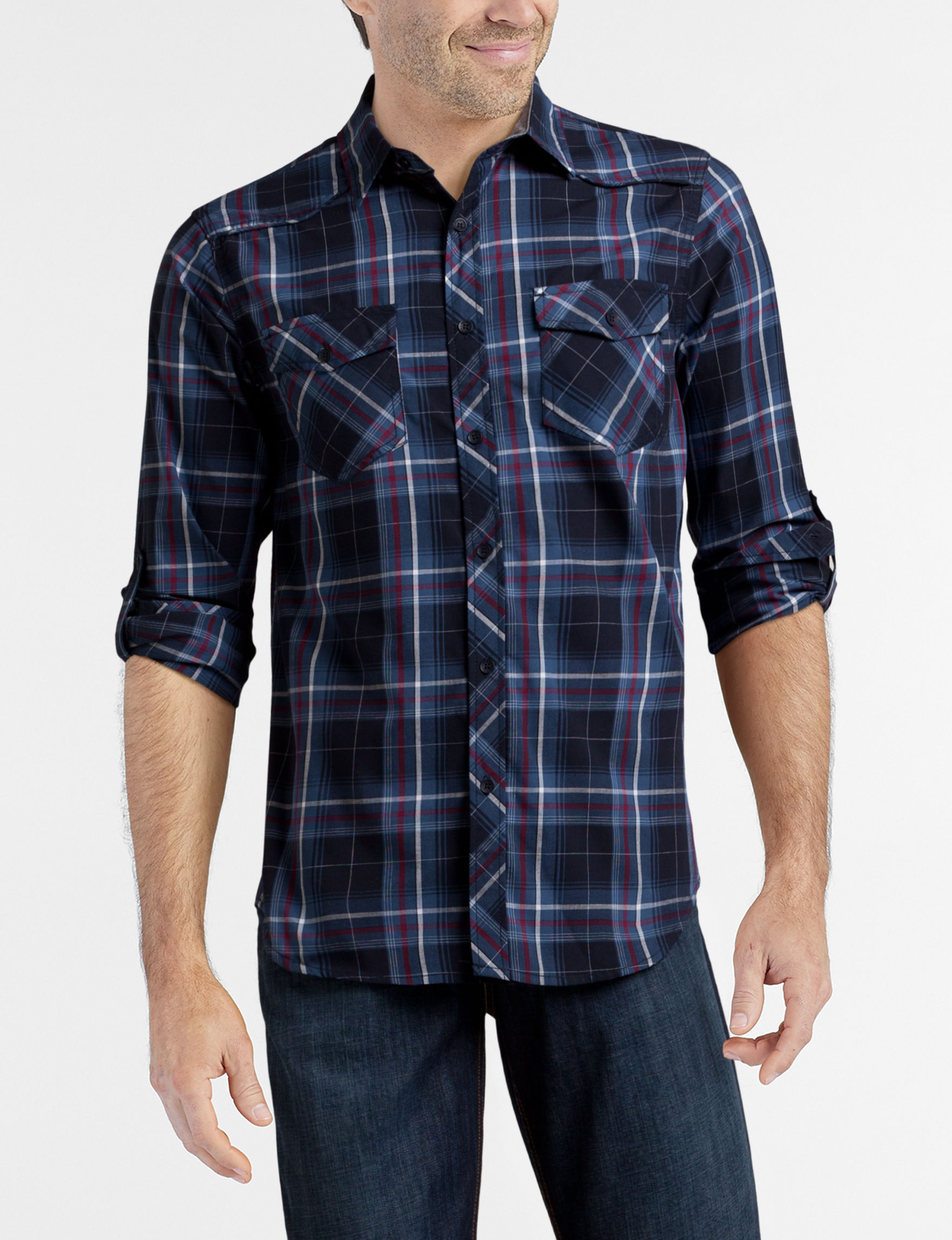 Rustic Blue Navy Plaid Casual Button Down Shirts