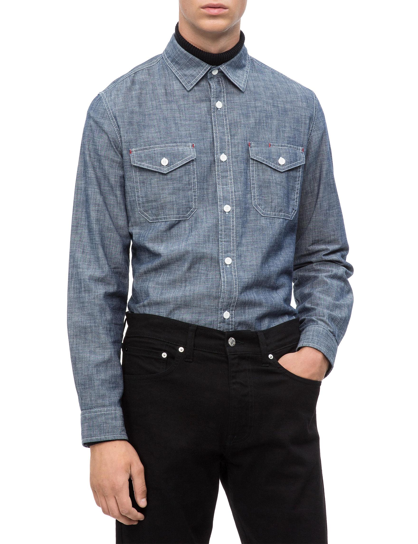 Calvin Klein Chambray Casual Button Down Shirts