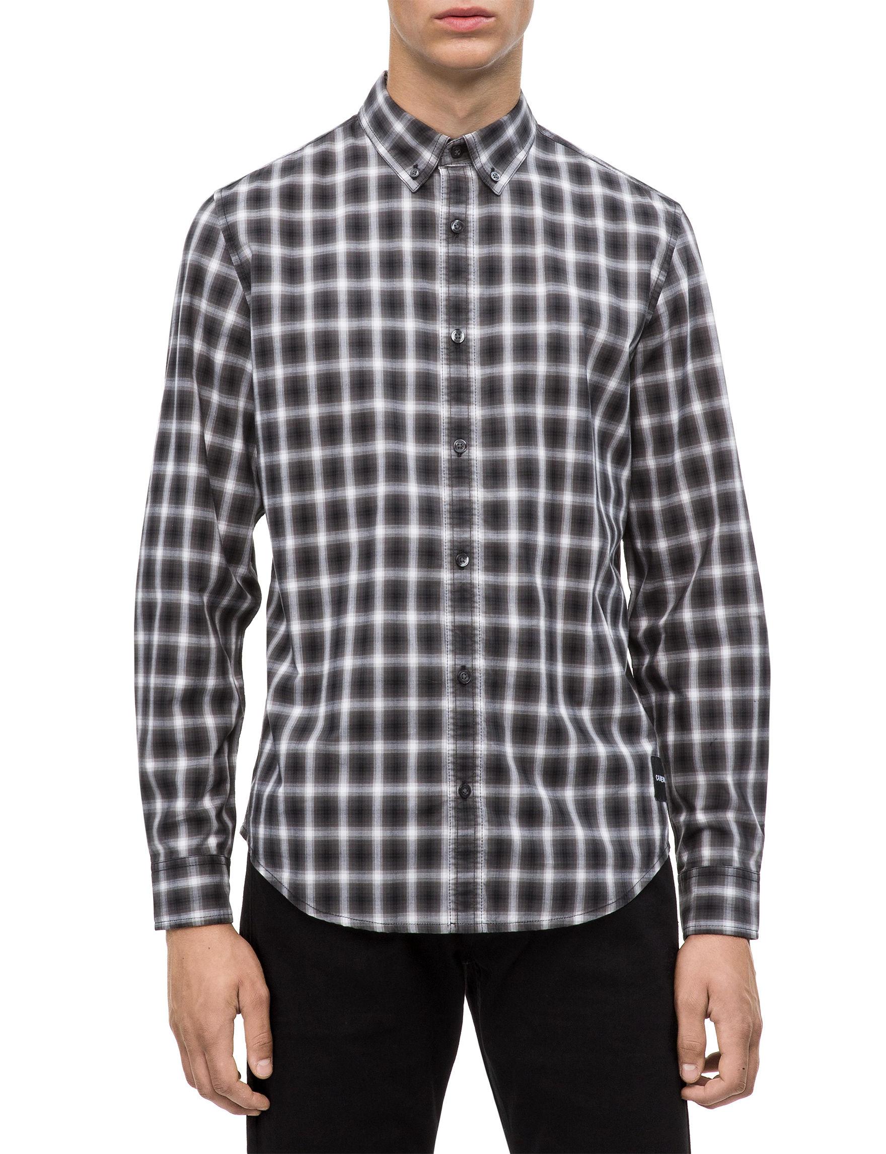 Calvin Klein Black Plaid Casual Button Down Shirts