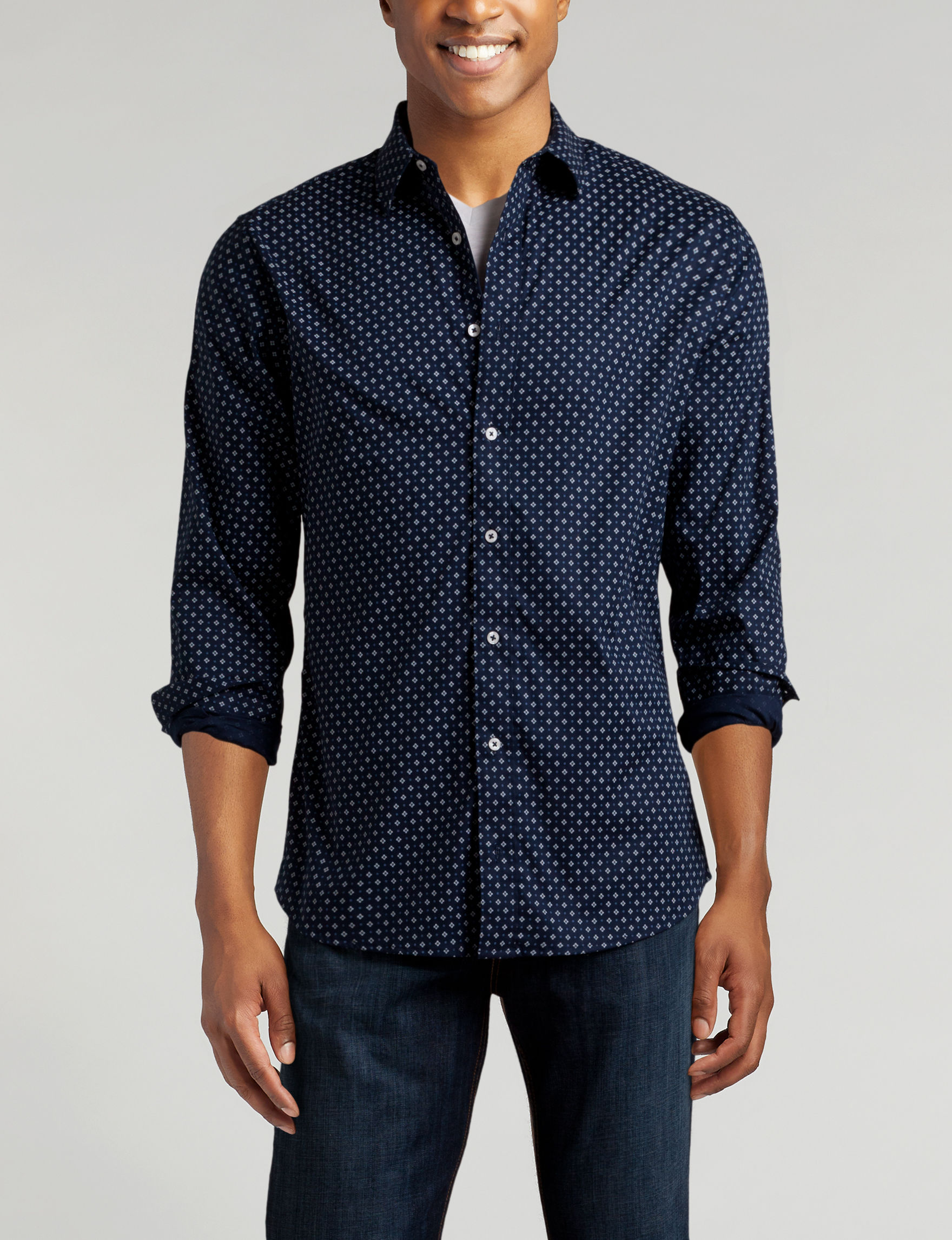 Signature Studio Navy / White Casual Button Down Shirts