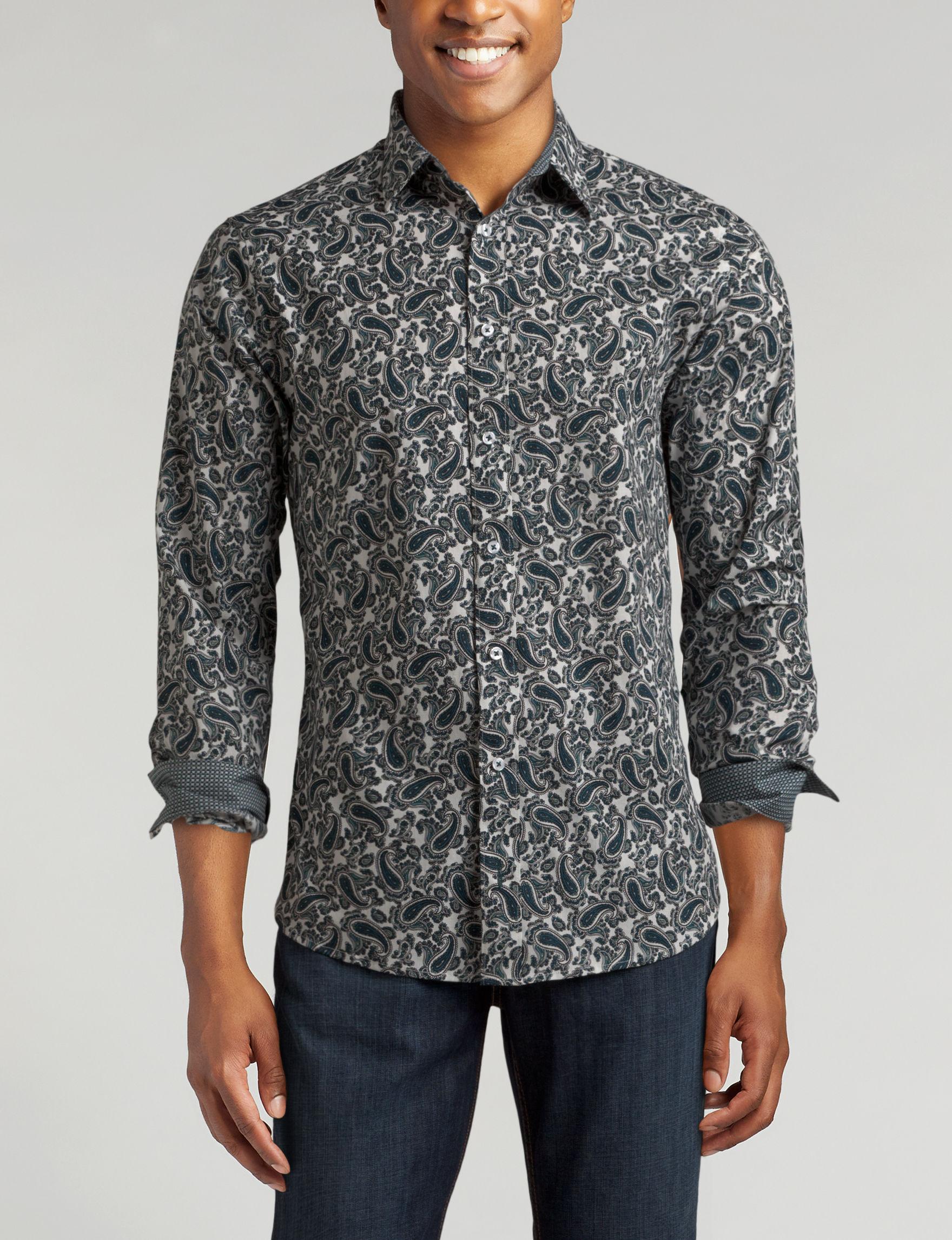 Signature Studio Black / White Casual Button Down Shirts