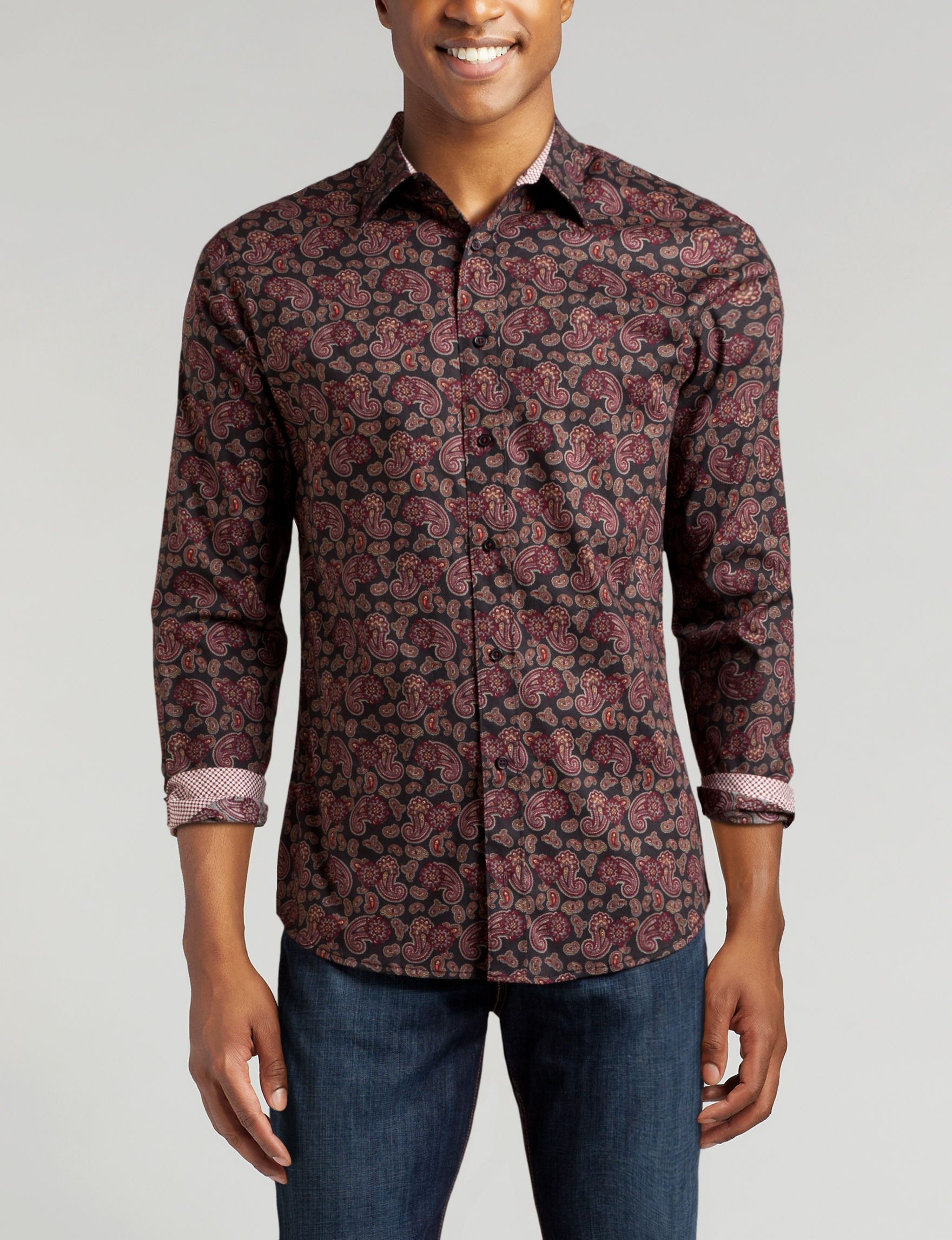 Signature Studio Burgundy Paisley Casual Button Down Shirts