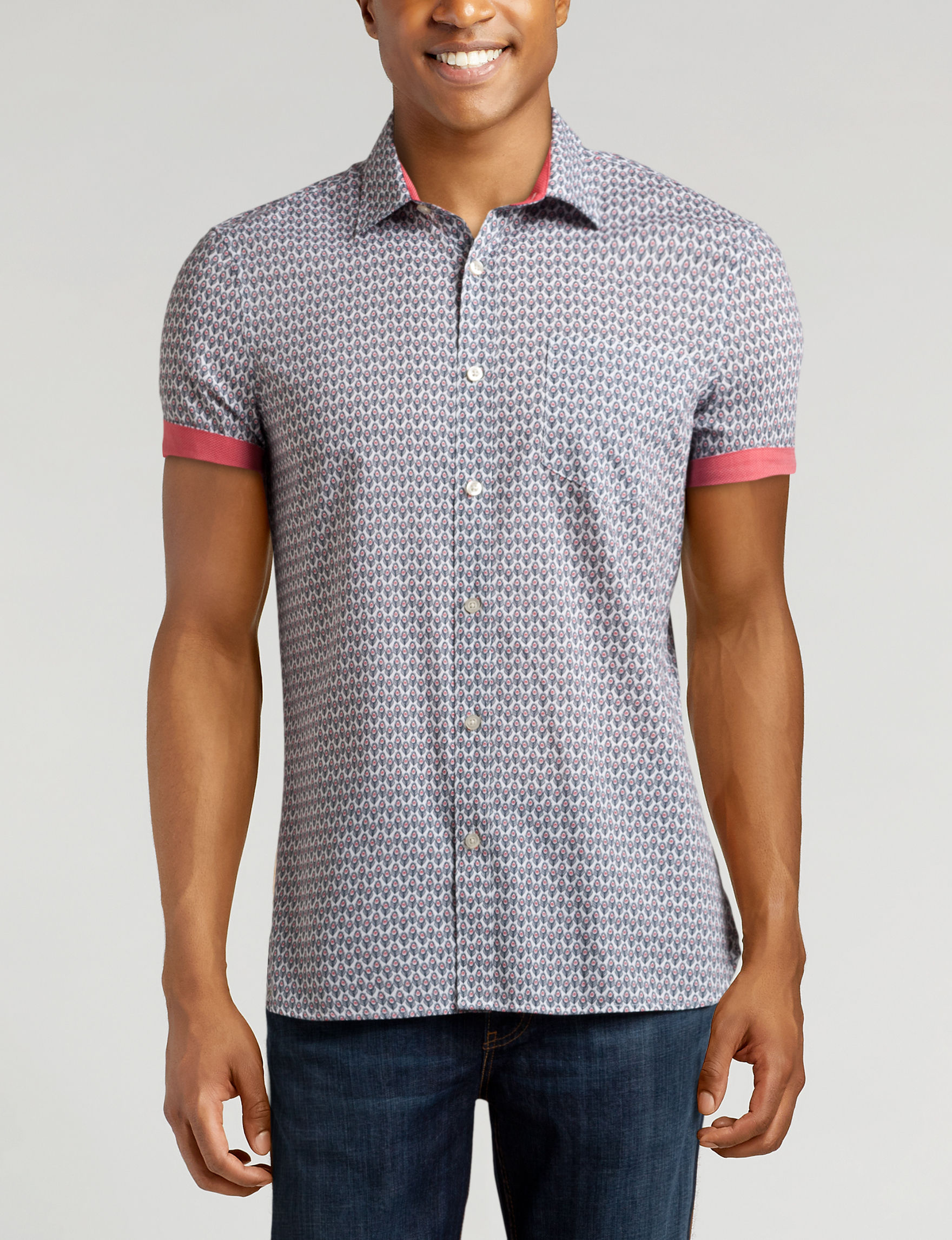 Axist Red / Black / White Casual Button Down Shirts