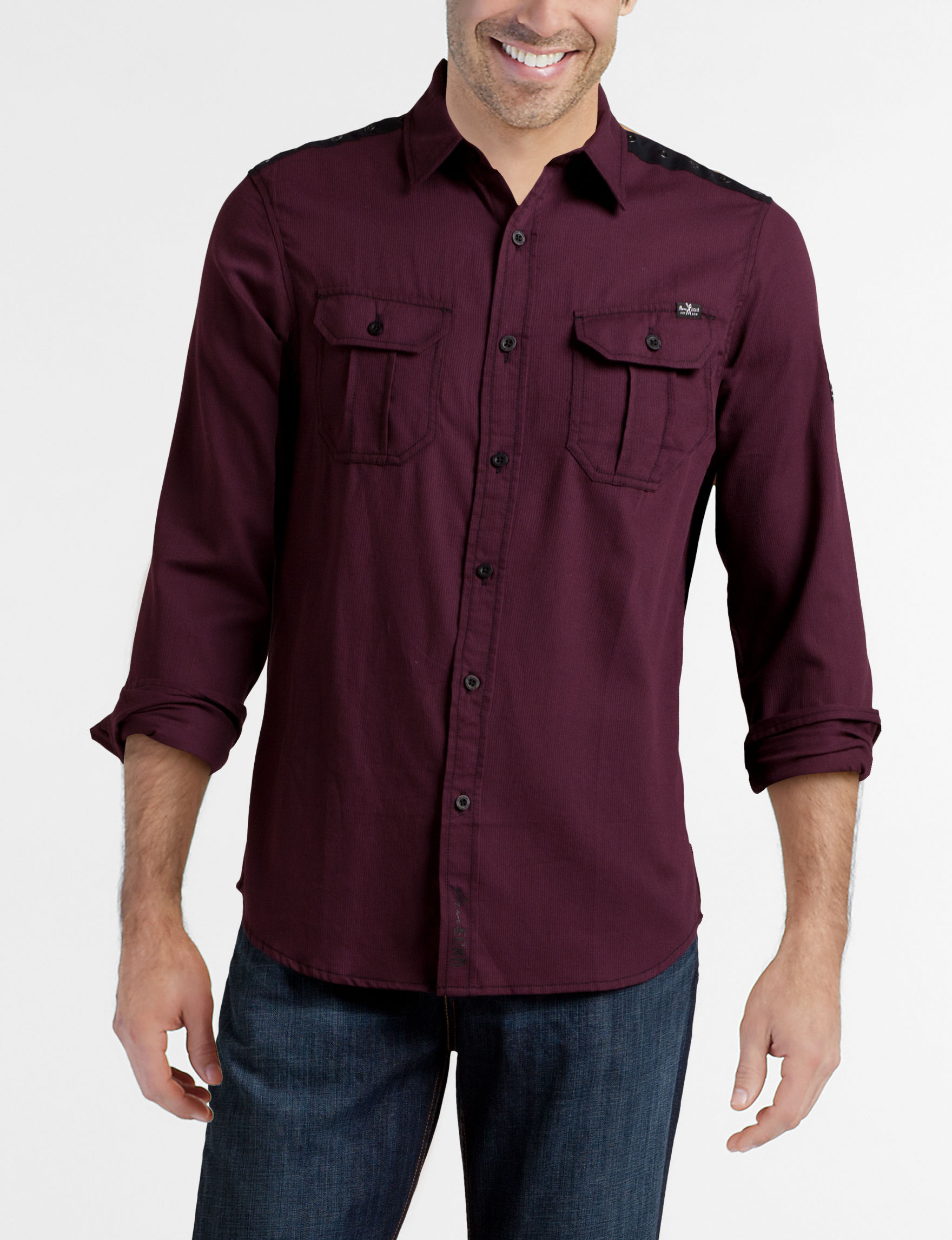 Marc Ecko Berry Casual Button Down Shirts