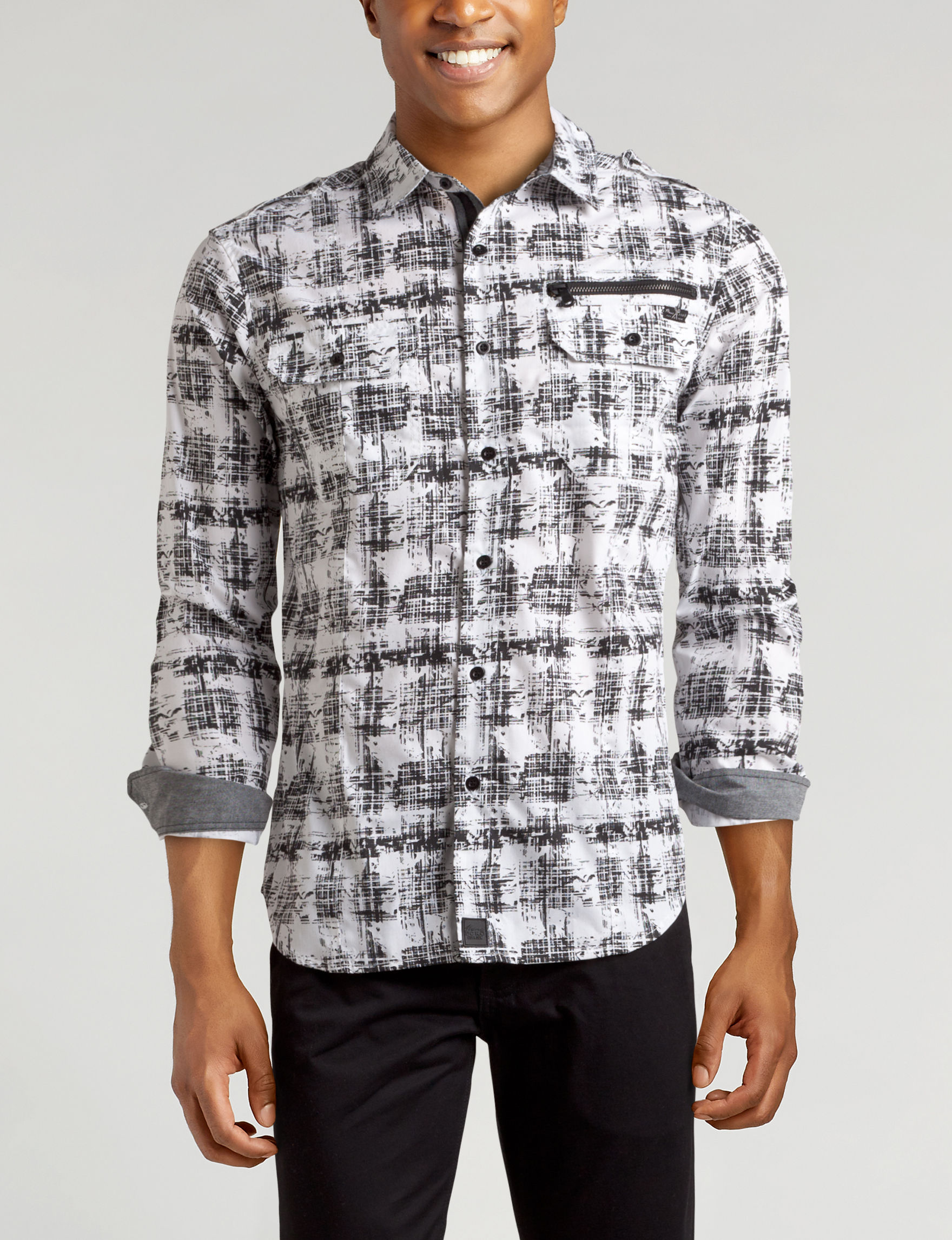 Marc Ecko White / Black Casual Button Down Shirts