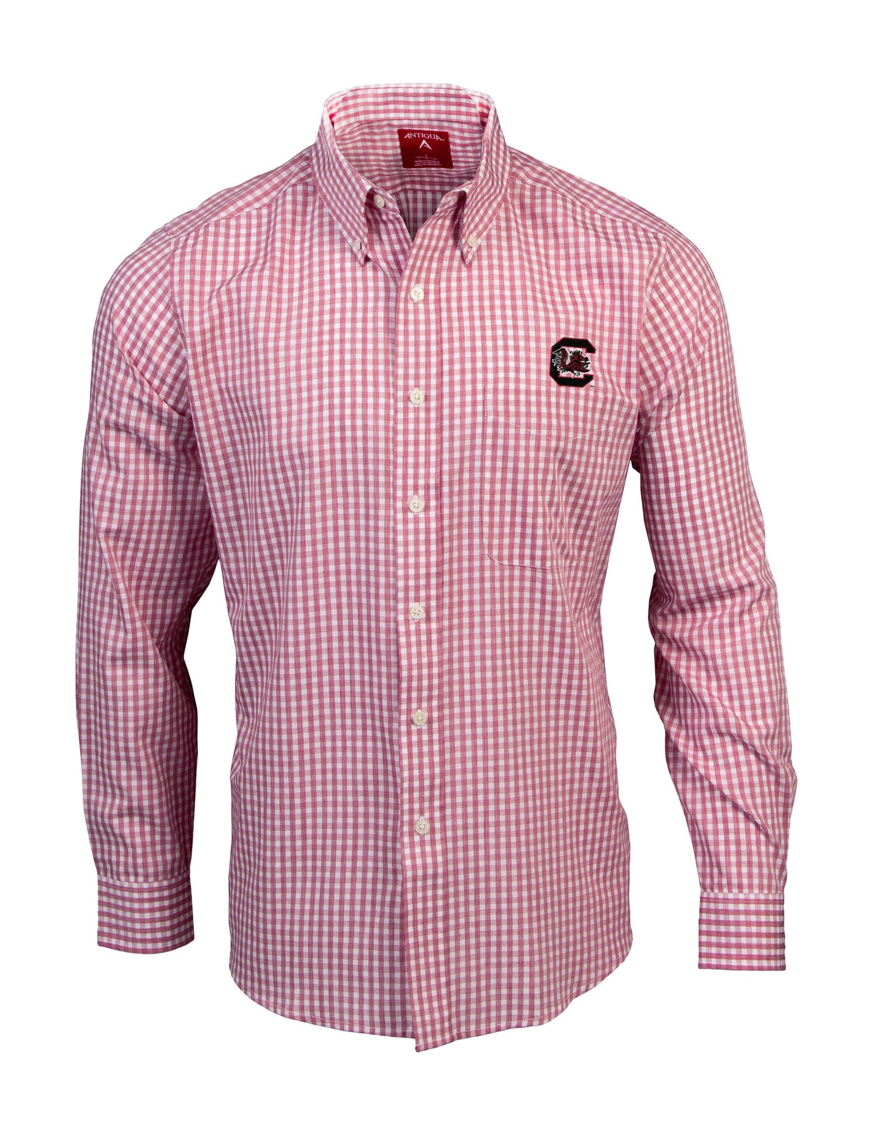 NCAA Maroon / White Casual Button Down Shirts