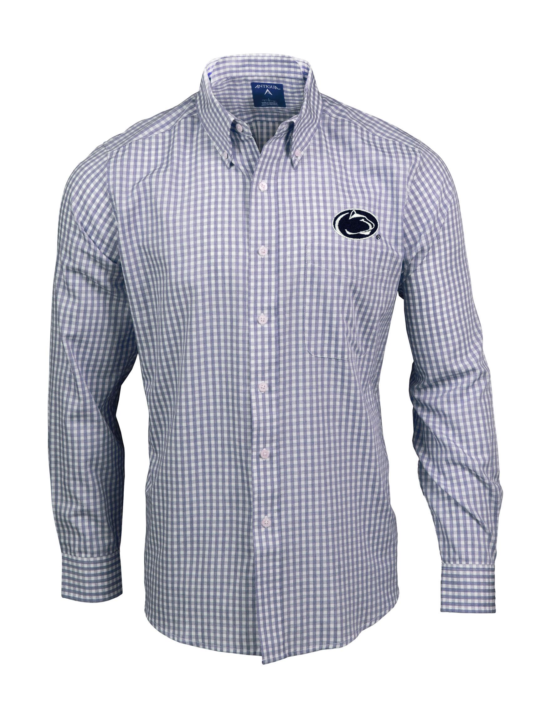 NCAA Navy / White Casual Button Down Shirts