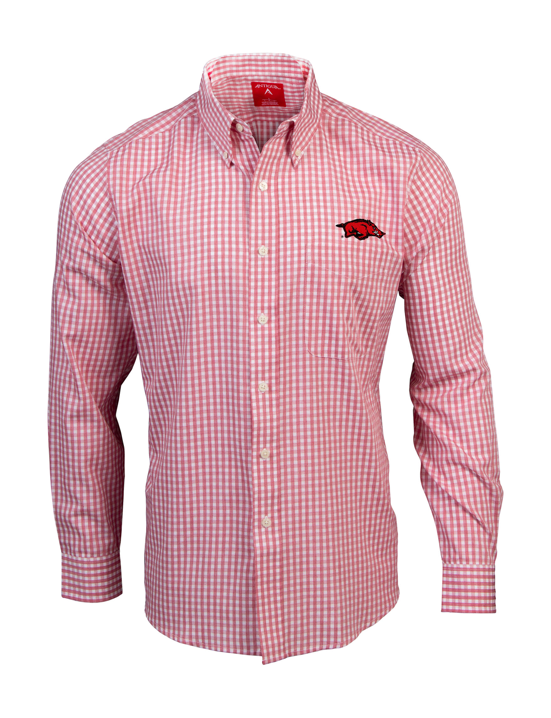 NCAA Red / White Casual Button Down Shirts