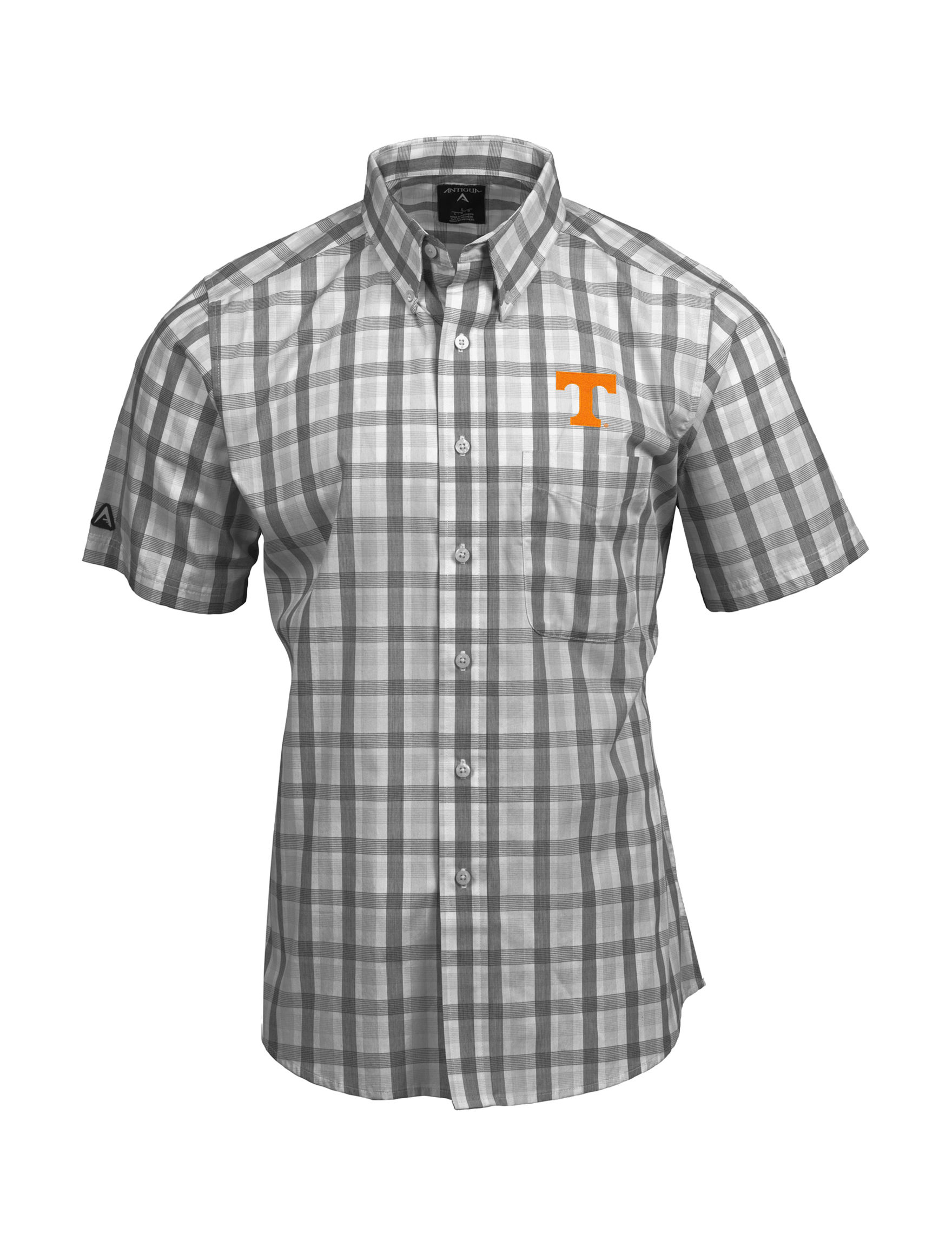 NCAA Grey Plaid Casual Button Down Shirts