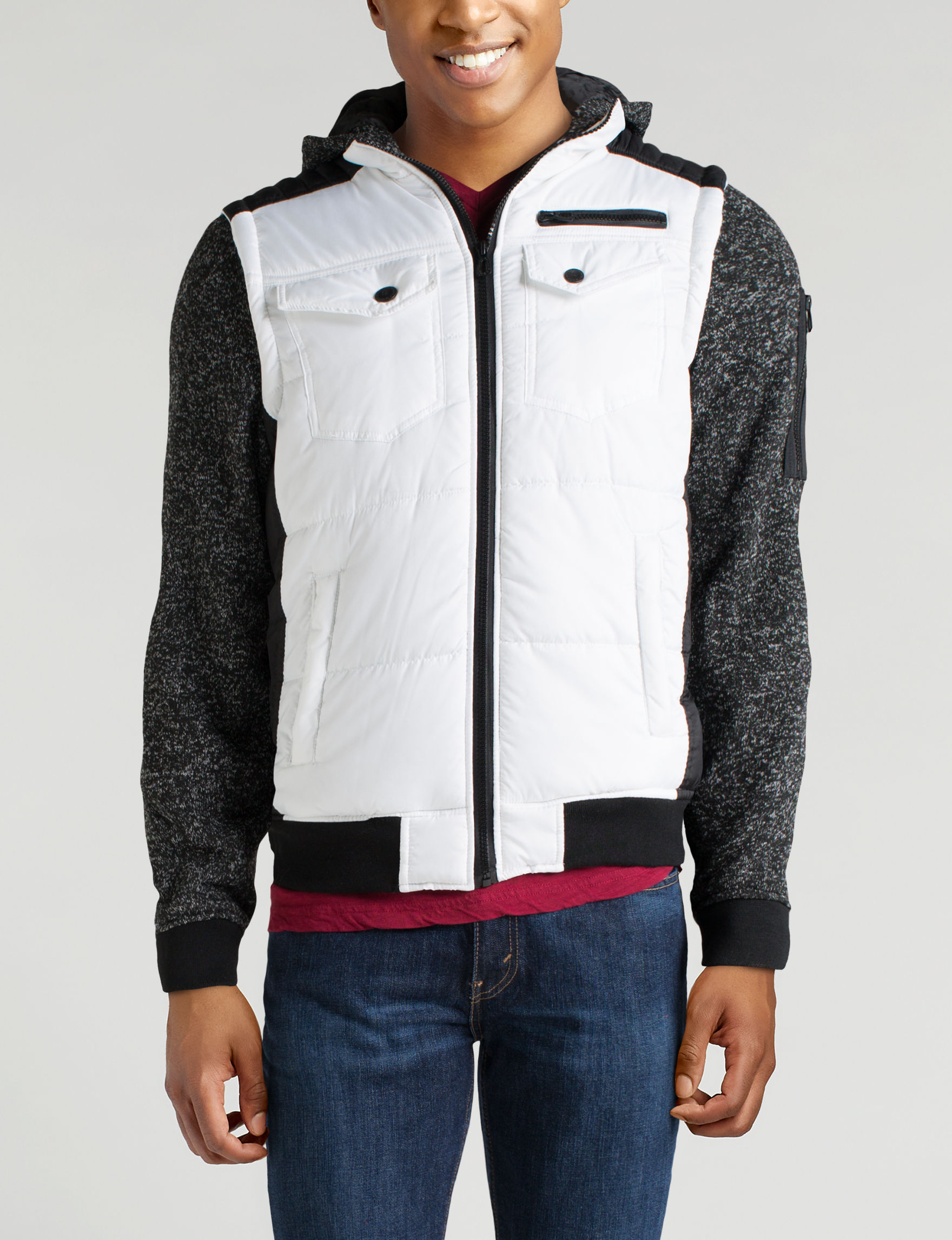 Point Zero White / Black Puffer & Quilted Jackets