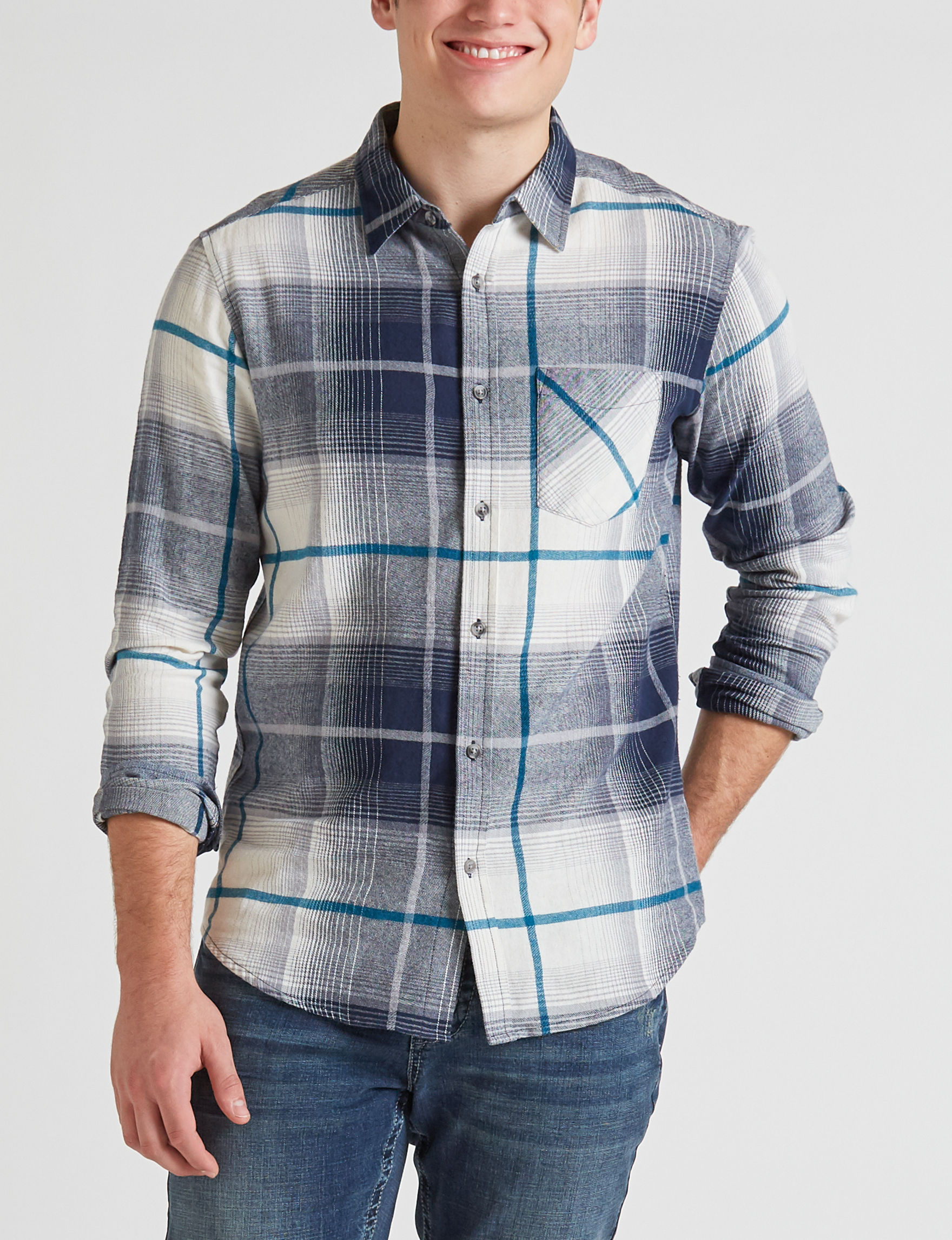 Rustic Blue Indigo Casual Button Down Shirts