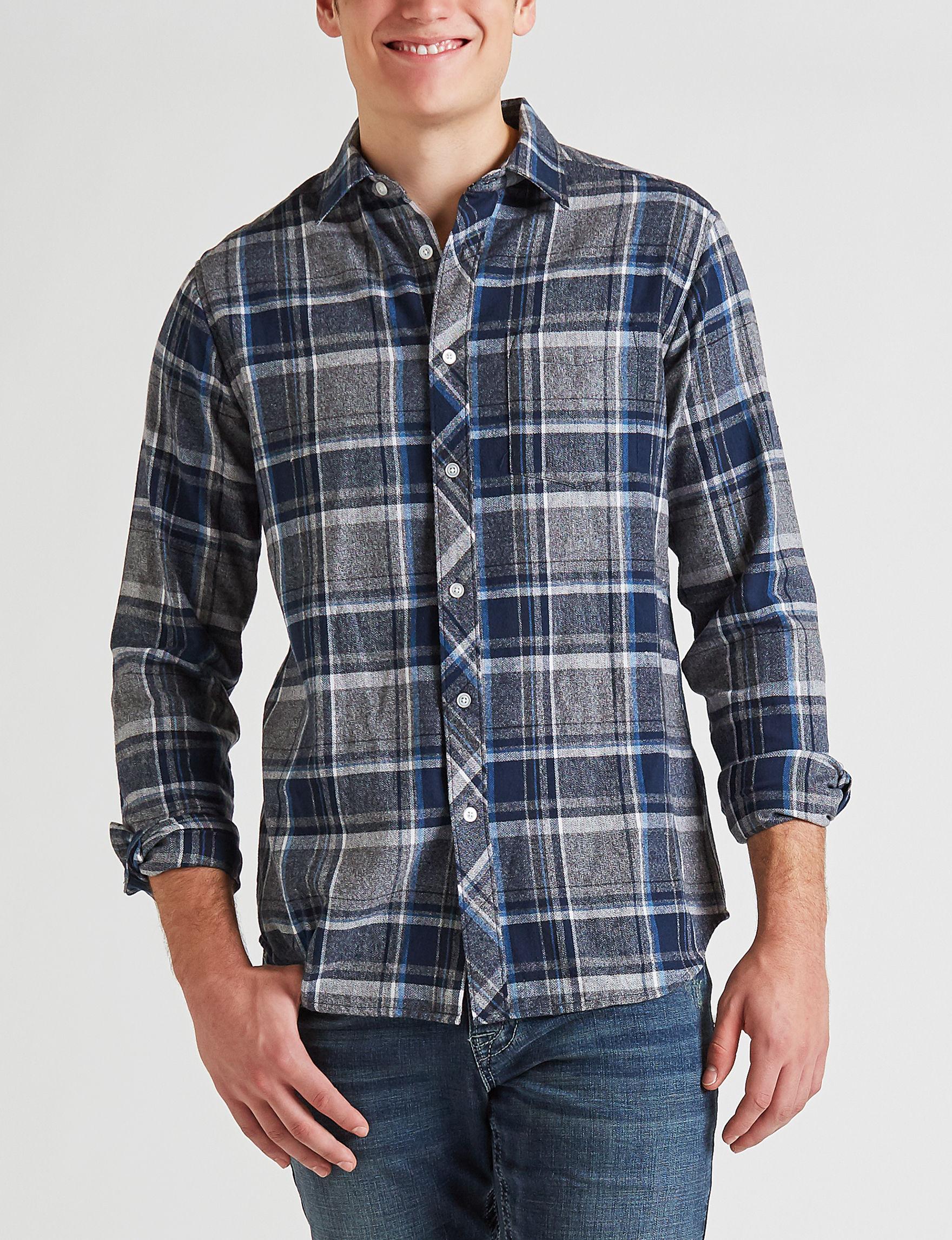 Rustic Blue Navy Plaid Casual Button Down Shirts