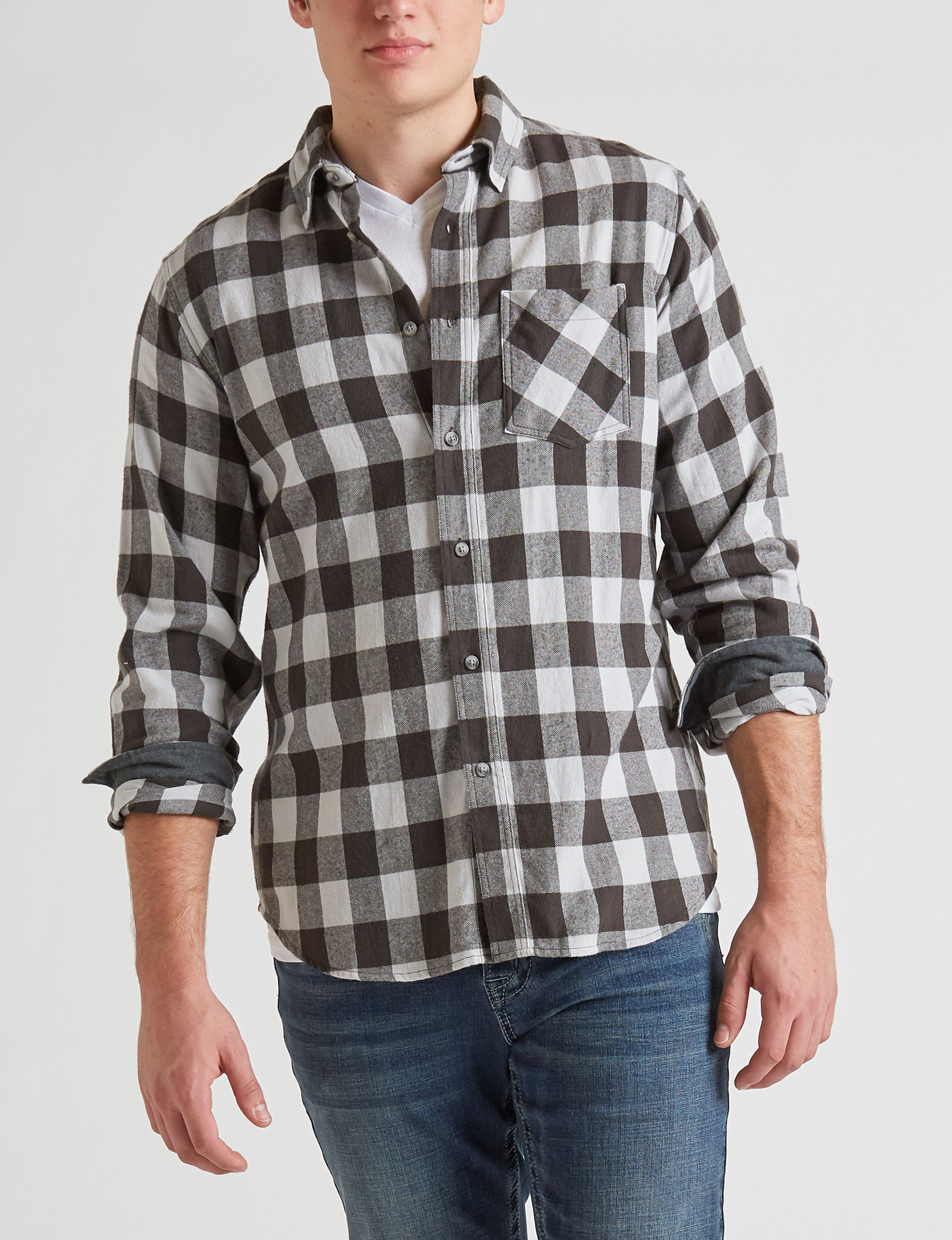 Rustic Blue Black Casual Button Down Shirts