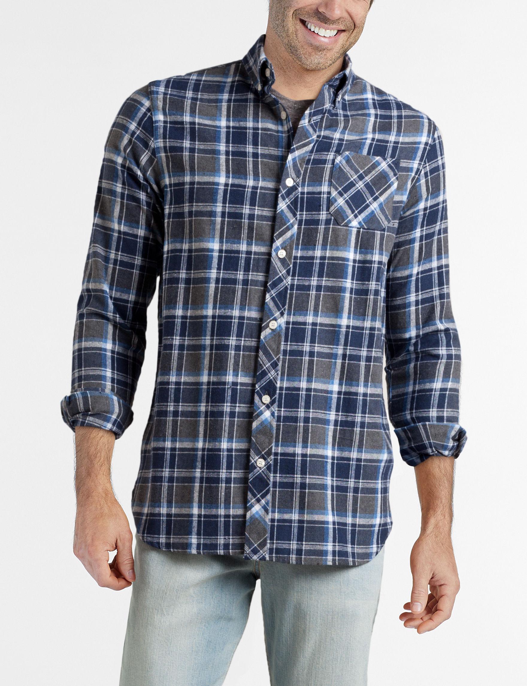 Brooklyn Standard Navy Plaid Casual Button Down Shirts