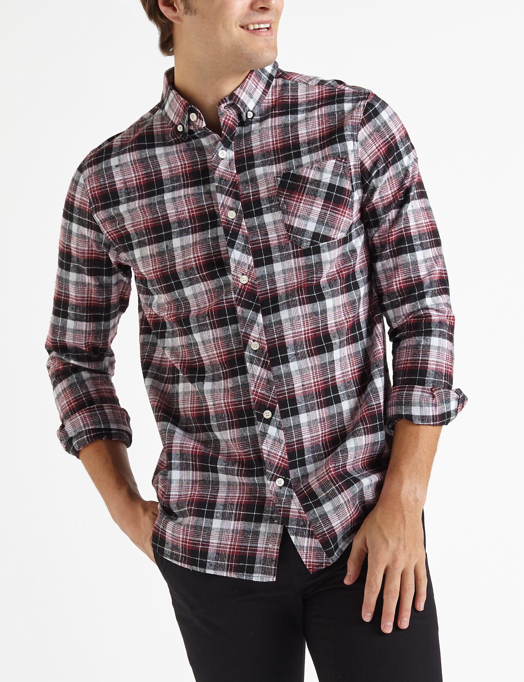 Brooklyn Standard Red Plaid Casual Button Down Shirts