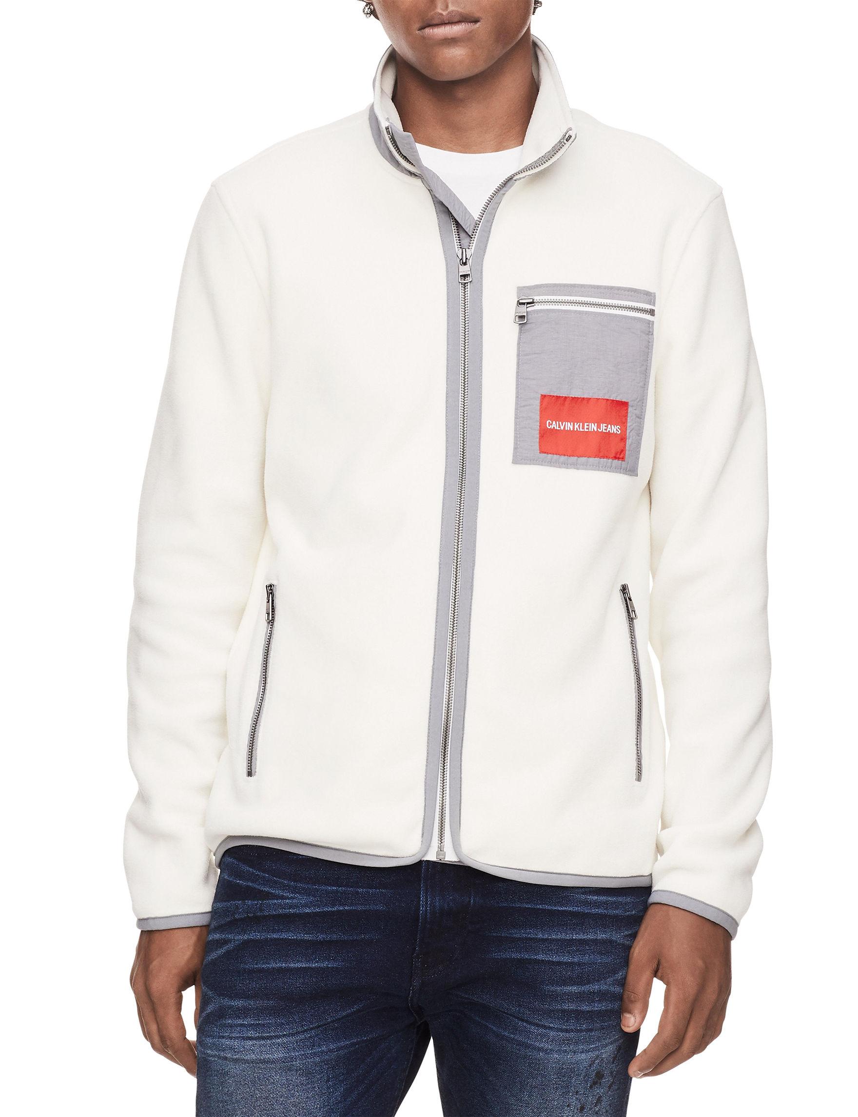 Calvin Klein White / Grey Lightweight Jackets & Blazers