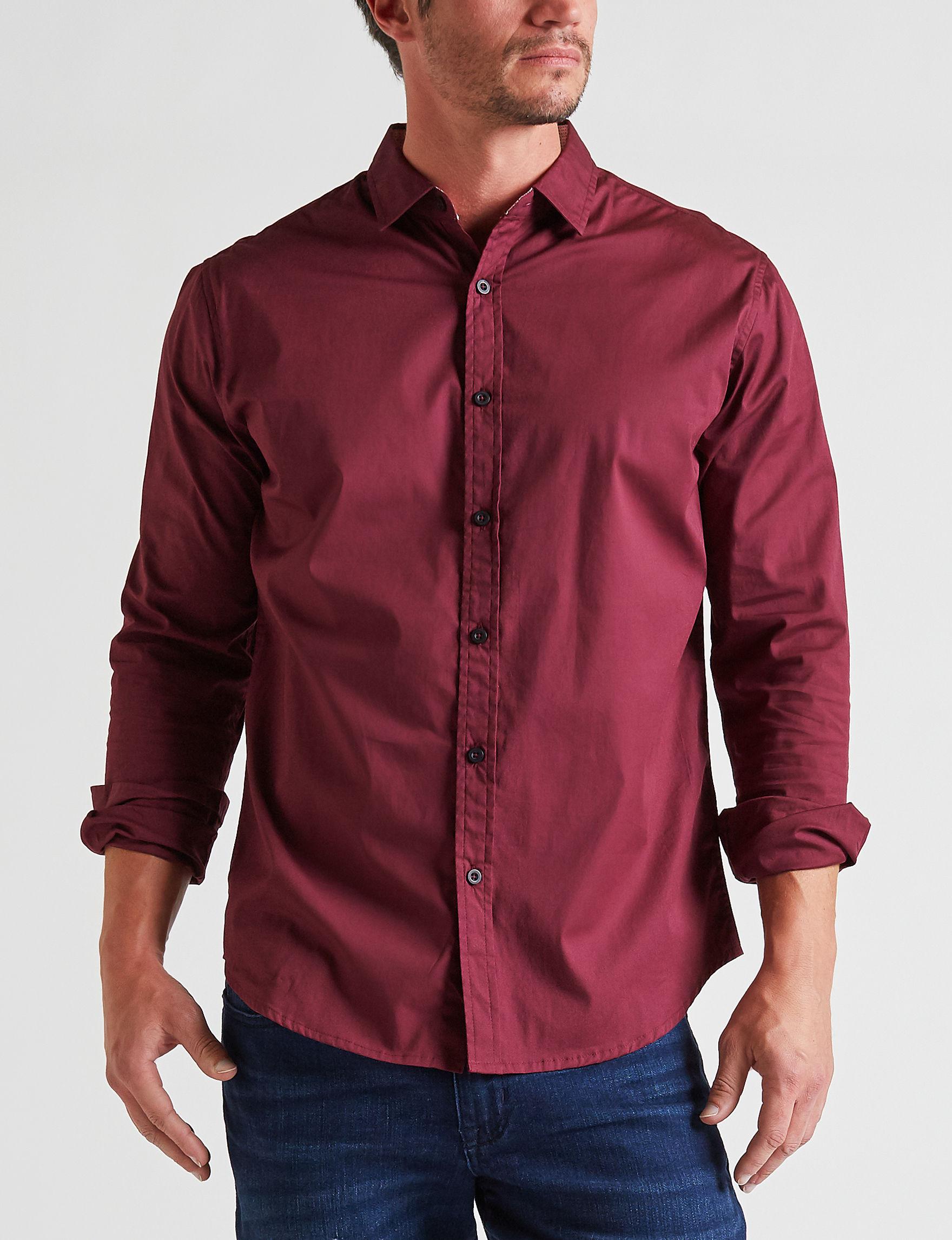 Signature Studio Wine Casual Button Down Shirts